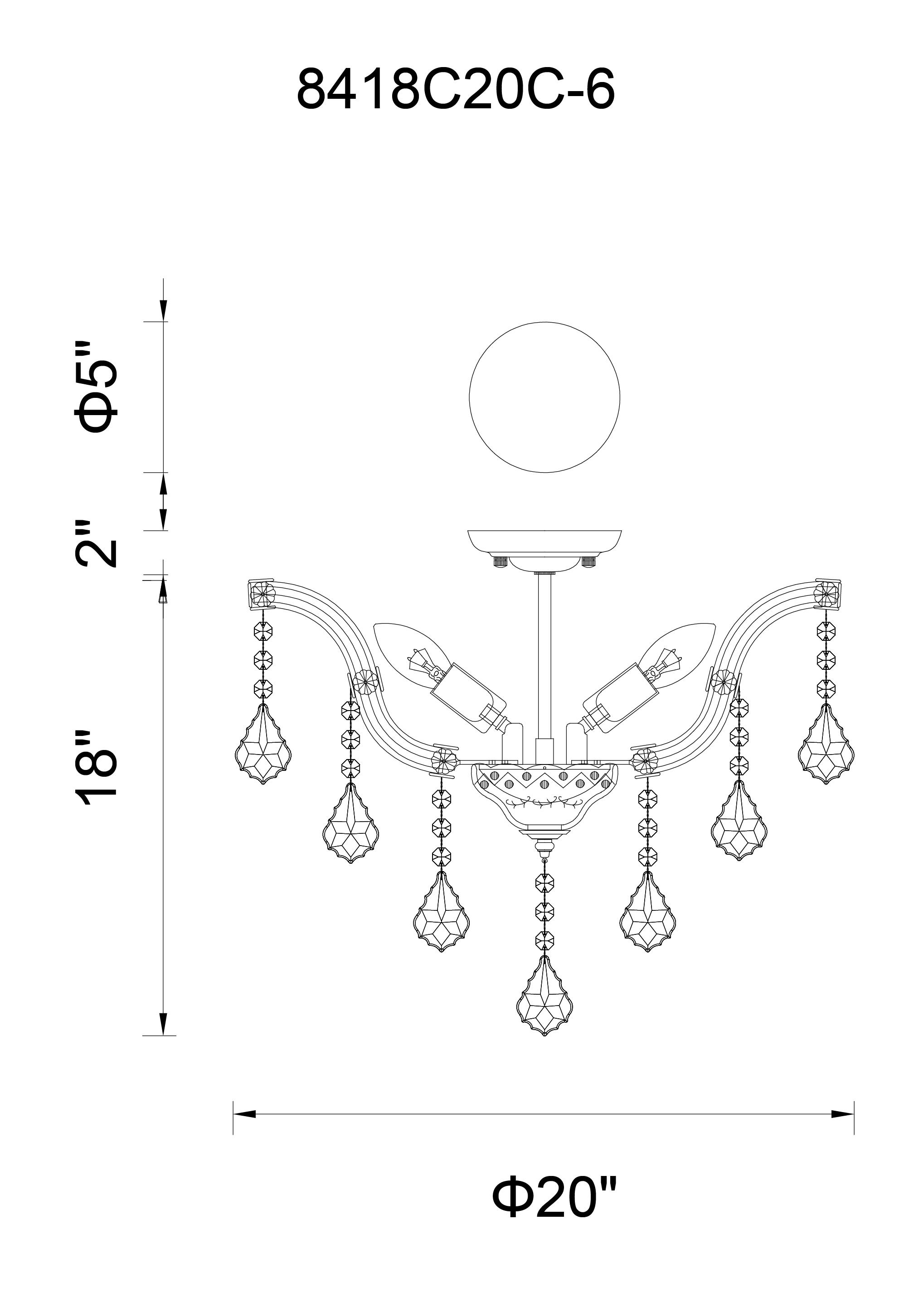 CWI Lighting Payton 6 Light Flush Mount With Chrome Finish Model: 8418C20C-6(CLEAR) Line Drawing