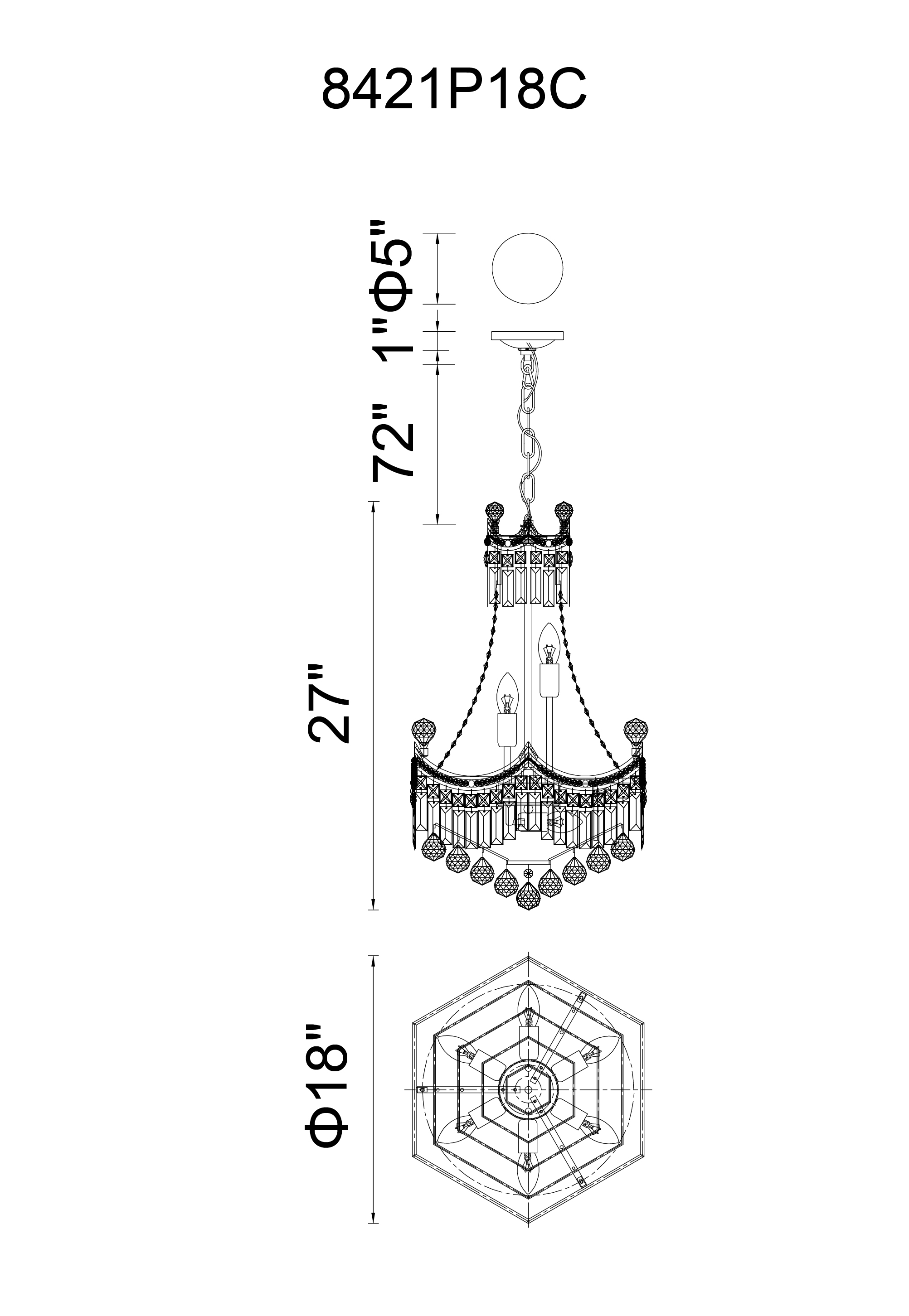 CWI Lighting Amanda 10 Light Down Chandelier With Chrome Finish Model: 8421P18C Line Drawing