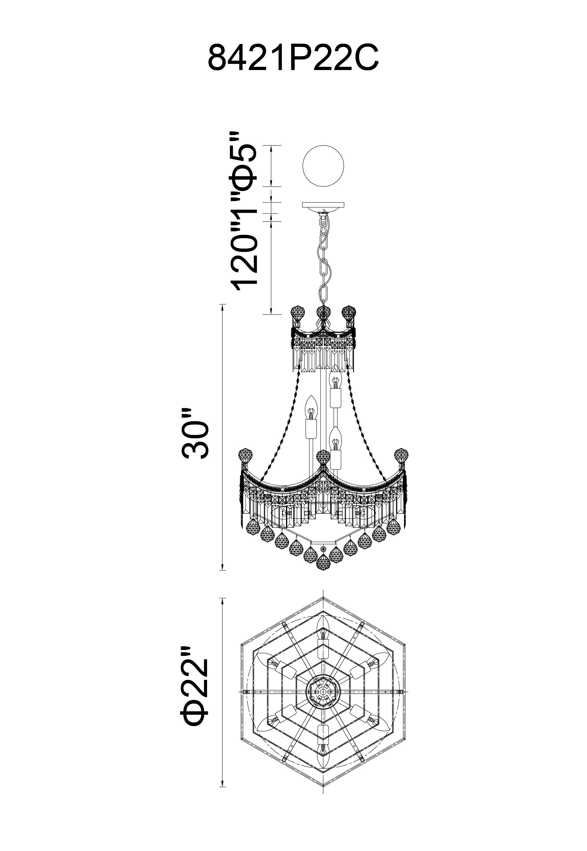 CWI Lighting Amanda 11 Light Down Chandelier With Chrome Finish Model: 8421P22C Line Drawing
