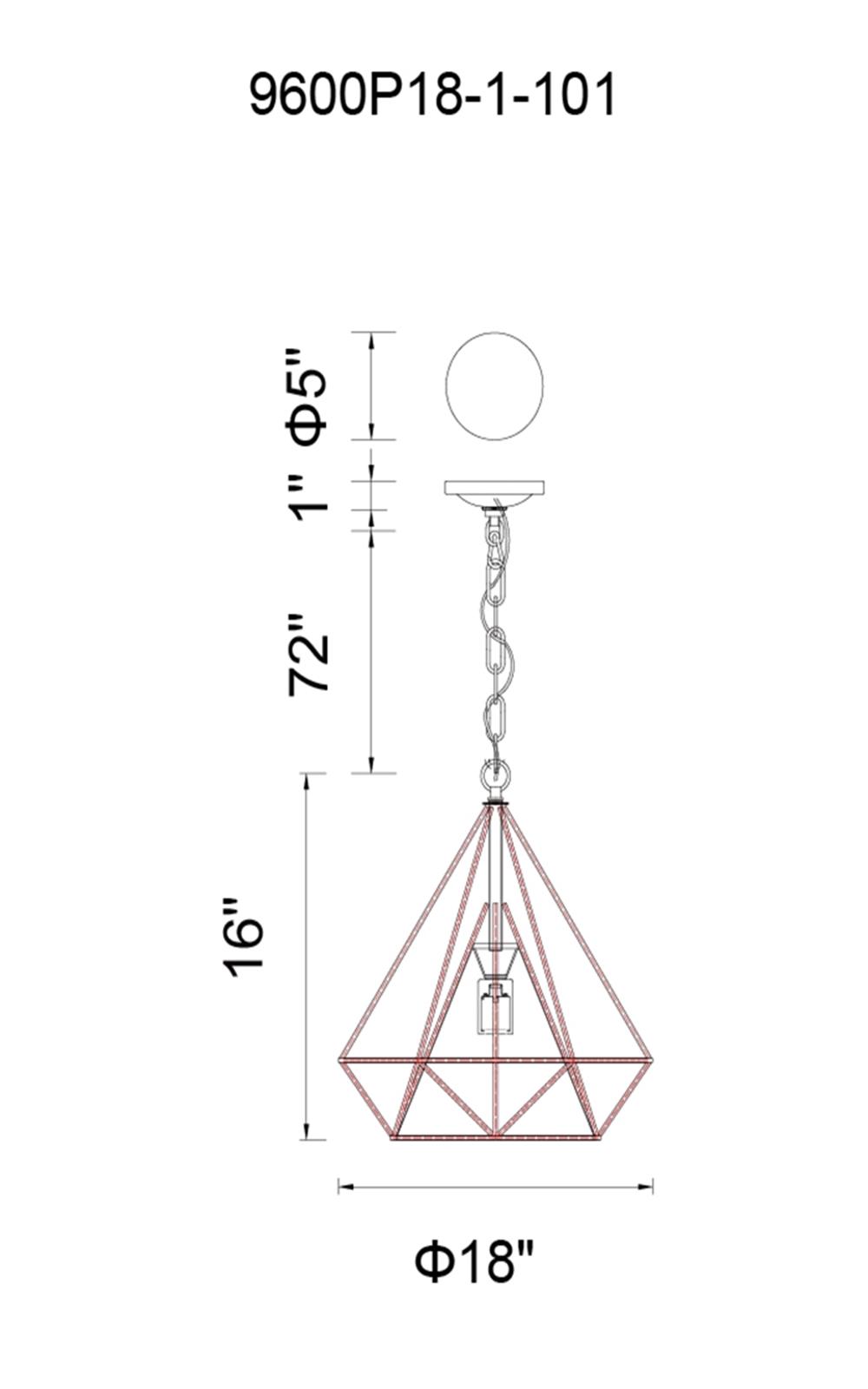 CWI Lighting Diamond 1 Light Down Pendant With Black Finish Model: 9600P18-1-101 Line Drawing