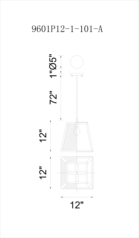 CWI Lighting Alyson 1 Light Down Mini Pendant With Black Finish Model: 9601P12-1-101 Line Drawing