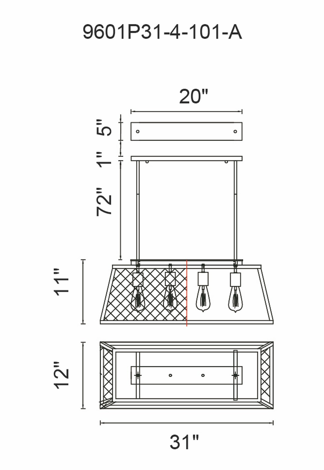CWI Lighting Macleay 4 Light Down Chandelier With Black Finish Model: 9601P31-4-101-A Line Drawing