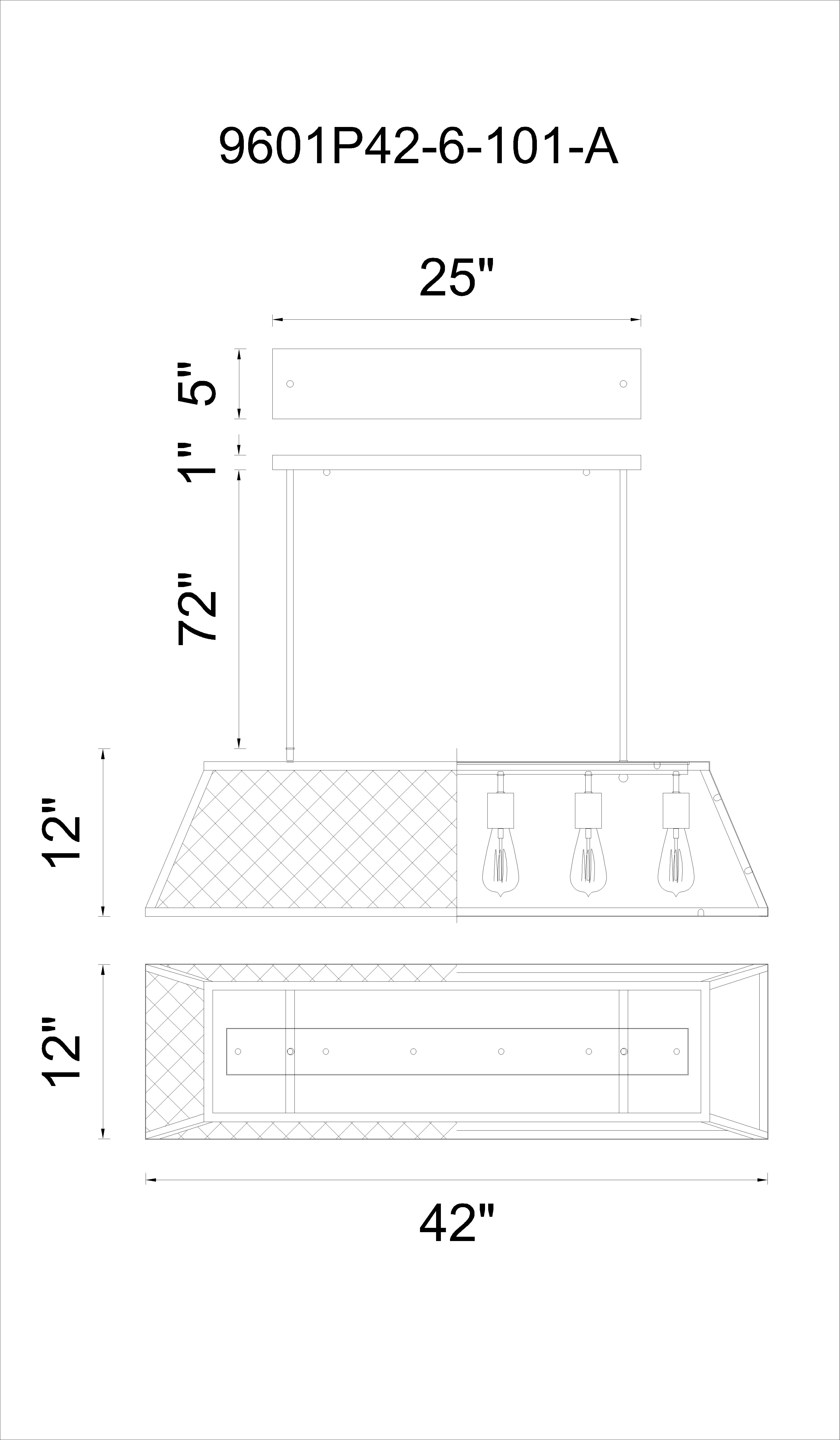 CWI Lighting Alyson 6 Light Down Chandelier With Black Finish Model: 9601P42-6-101 Line Drawing