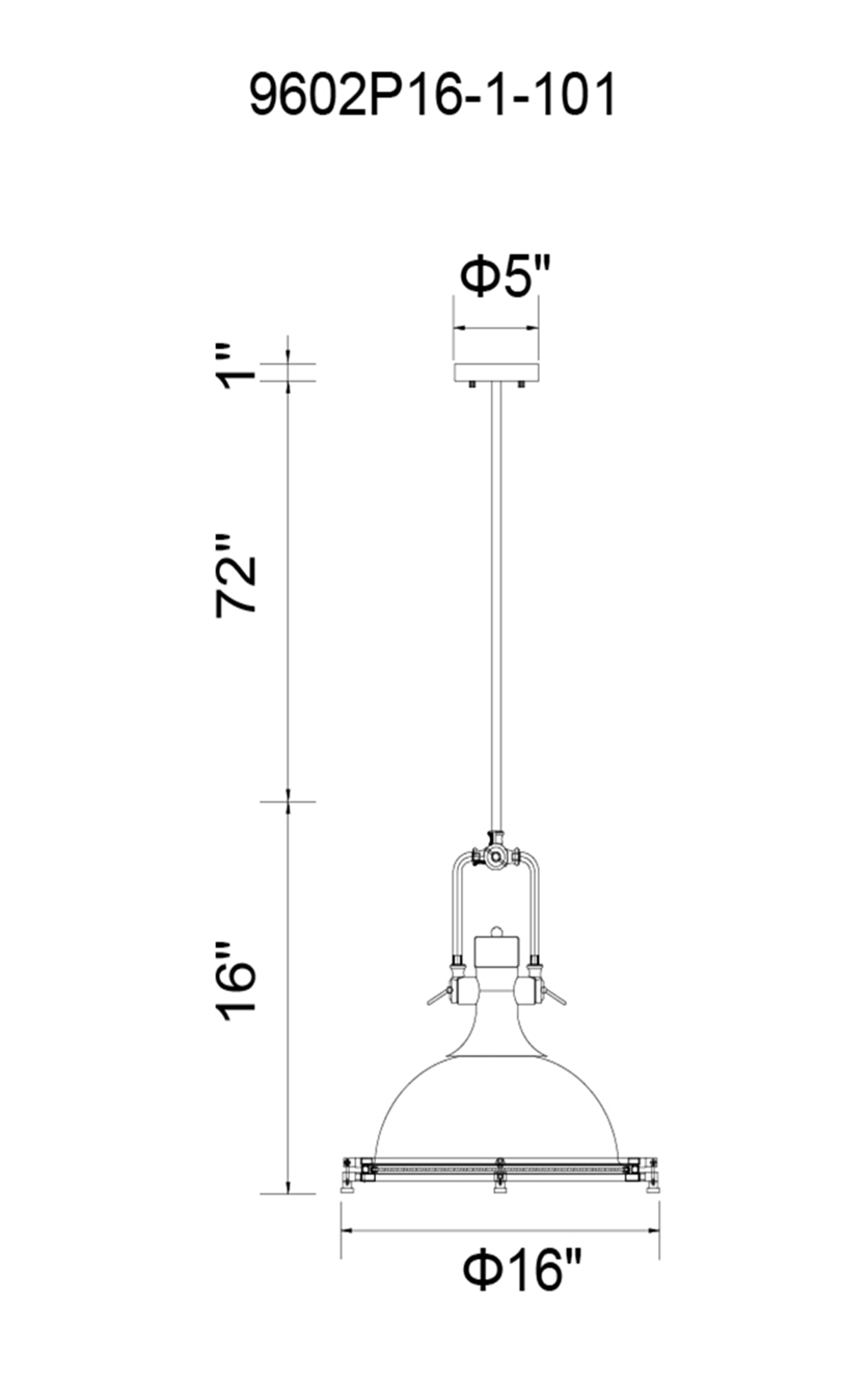CWI Lighting Show 1 Light Down Pendant With Black Finish Model: 9602P16-1-101 Line Drawing