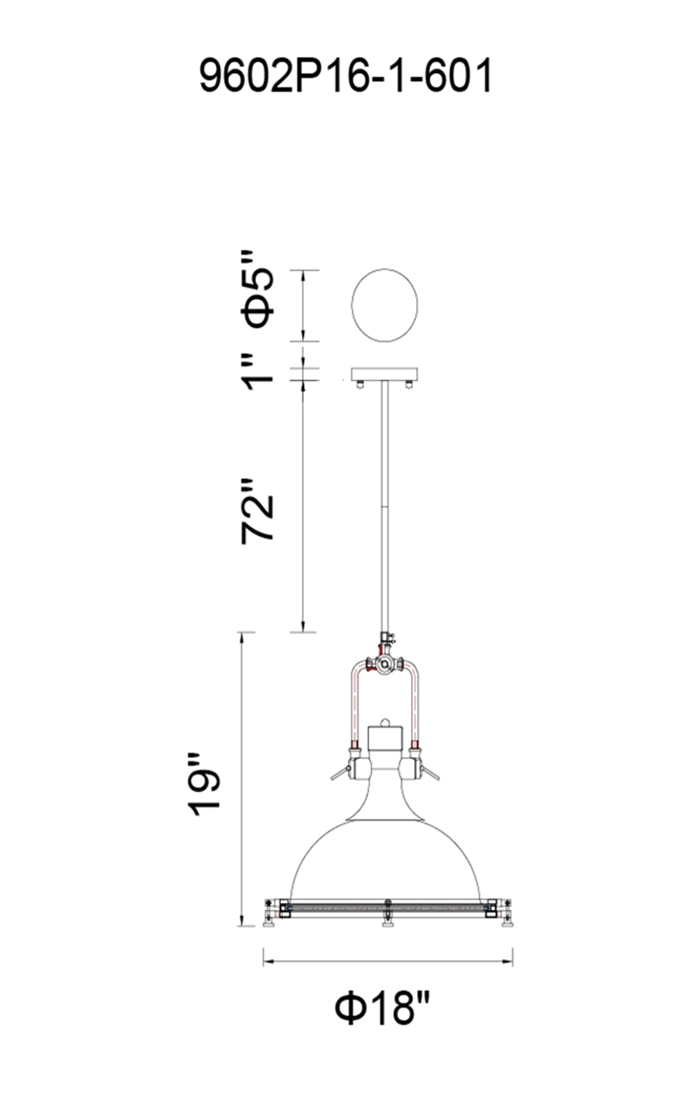 CWI Lighting Show 1 Light Down Pendant With Chrome Finish Model: 9602P16-1-601 Line Drawing