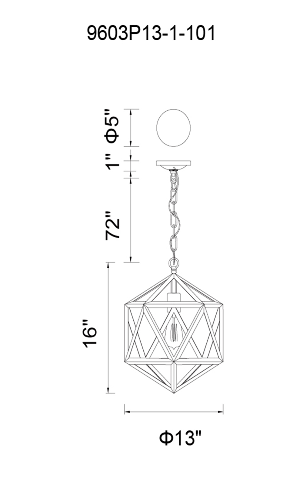 CWI Lighting Dia 1 Light Down Mini Pendant With Black Finish Model: 9603P13-1-101 Line Drawing