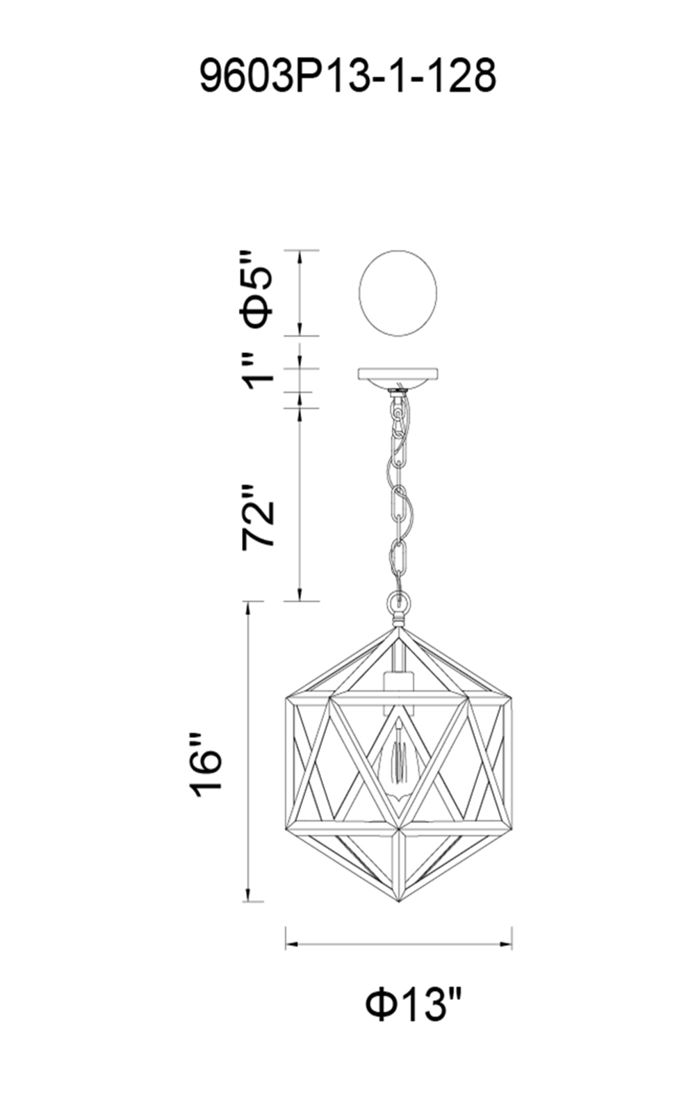 CWI Lighting Dia 1 Light Down Mini Pendant With Antique Copper Model: 9603P13-1-128 Line Drawing