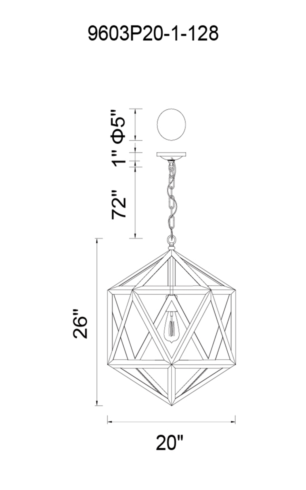 CWI Lighting Dia 1 Light Down Pendant With Antique Copper Model: 9603P20-1-128 Line Drawing
