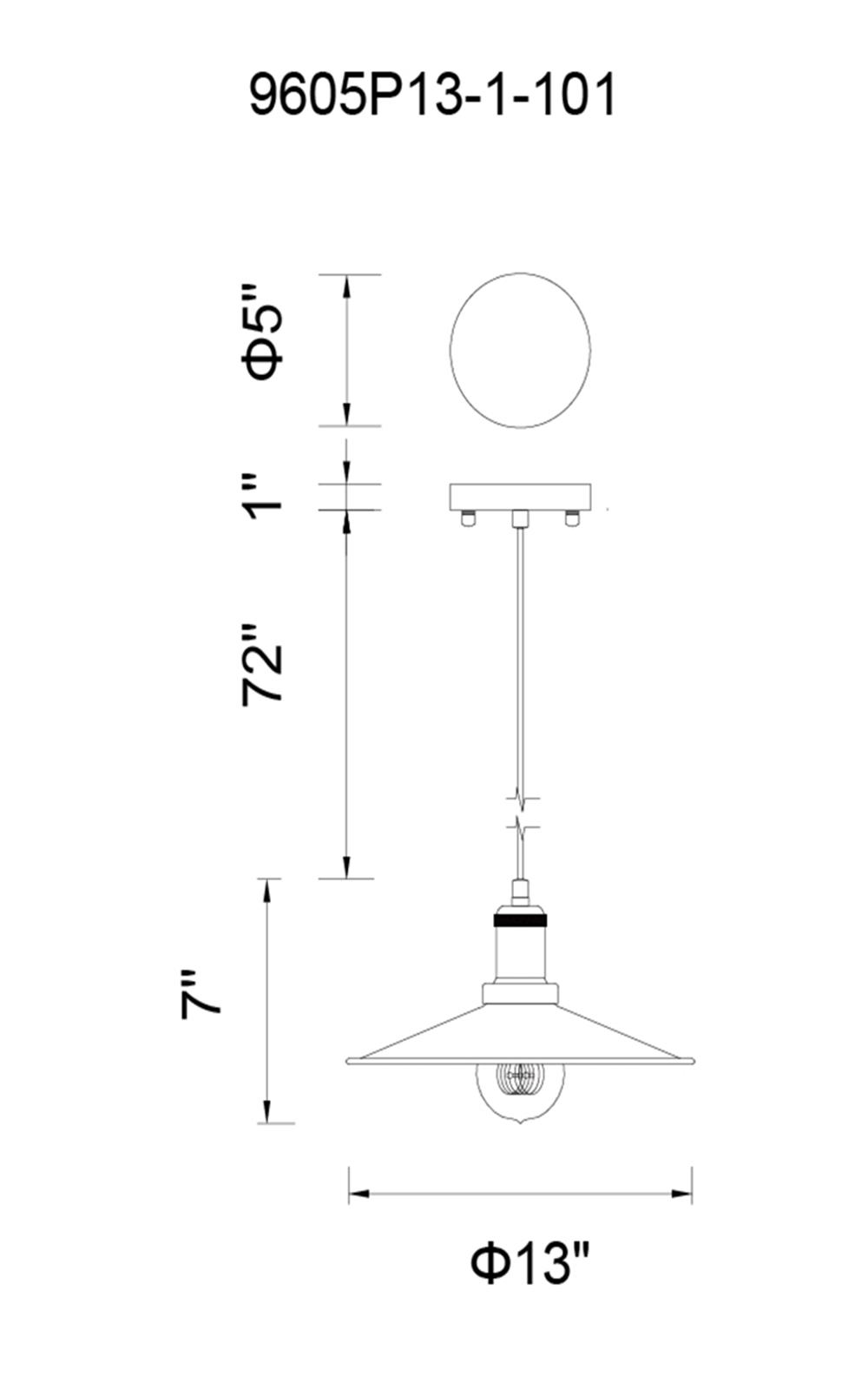CWI Lighting Brave 1 Light Down Mini Pendant With Black Finish Model: 9605P13-1-101 Line Drawing