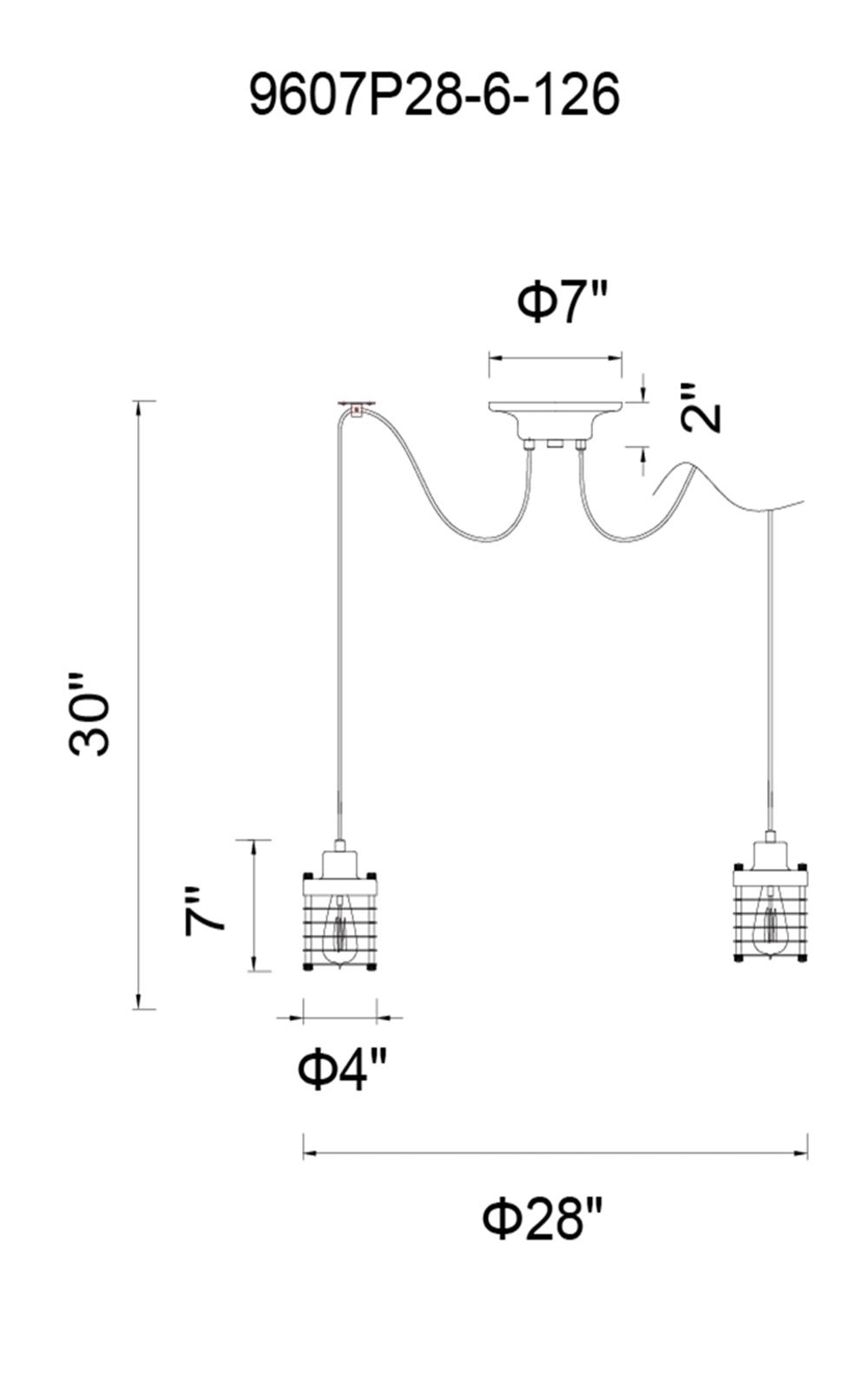CWI Lighting Bray 6 Light Multi Light Pendant With Chocolate Model: 9607P28-6-126 Line Drawing