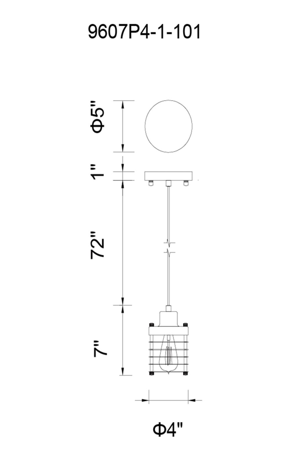 CWI Lighting Bray 1 Light Down Mini Pendant With Black Finish Model: 9607P4-1-101 Line Drawing