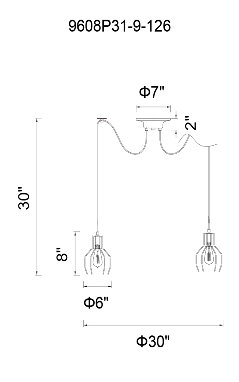 CWI Lighting Secure 9 Light Multi Light Pendant With Chocolate Model: 9608P31-9-126 Line Drawing