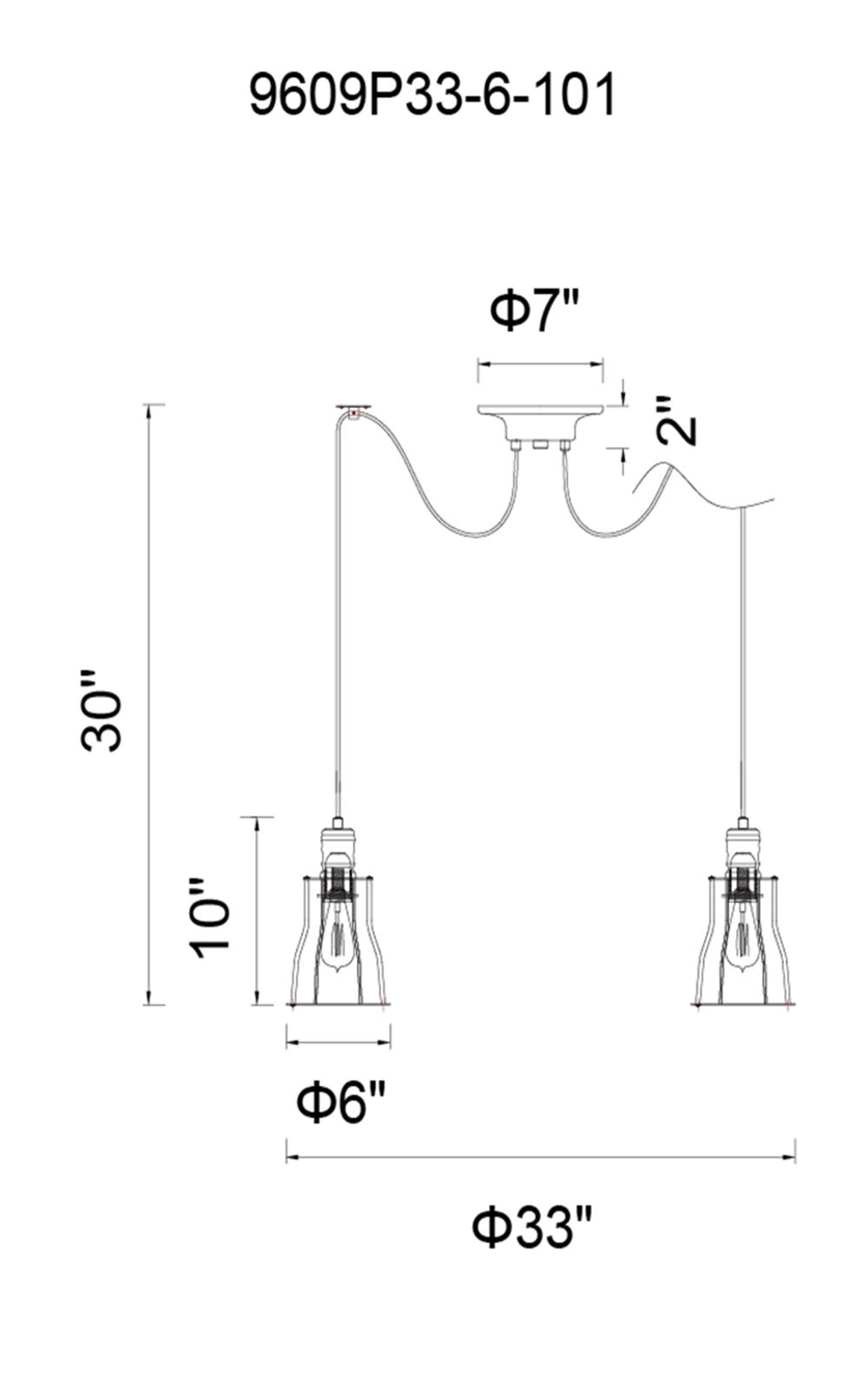 CWI Lighting Graham 6 Light Multi Light Pendant With Chocolate Model: 9609P33-6-126 Line Drawing