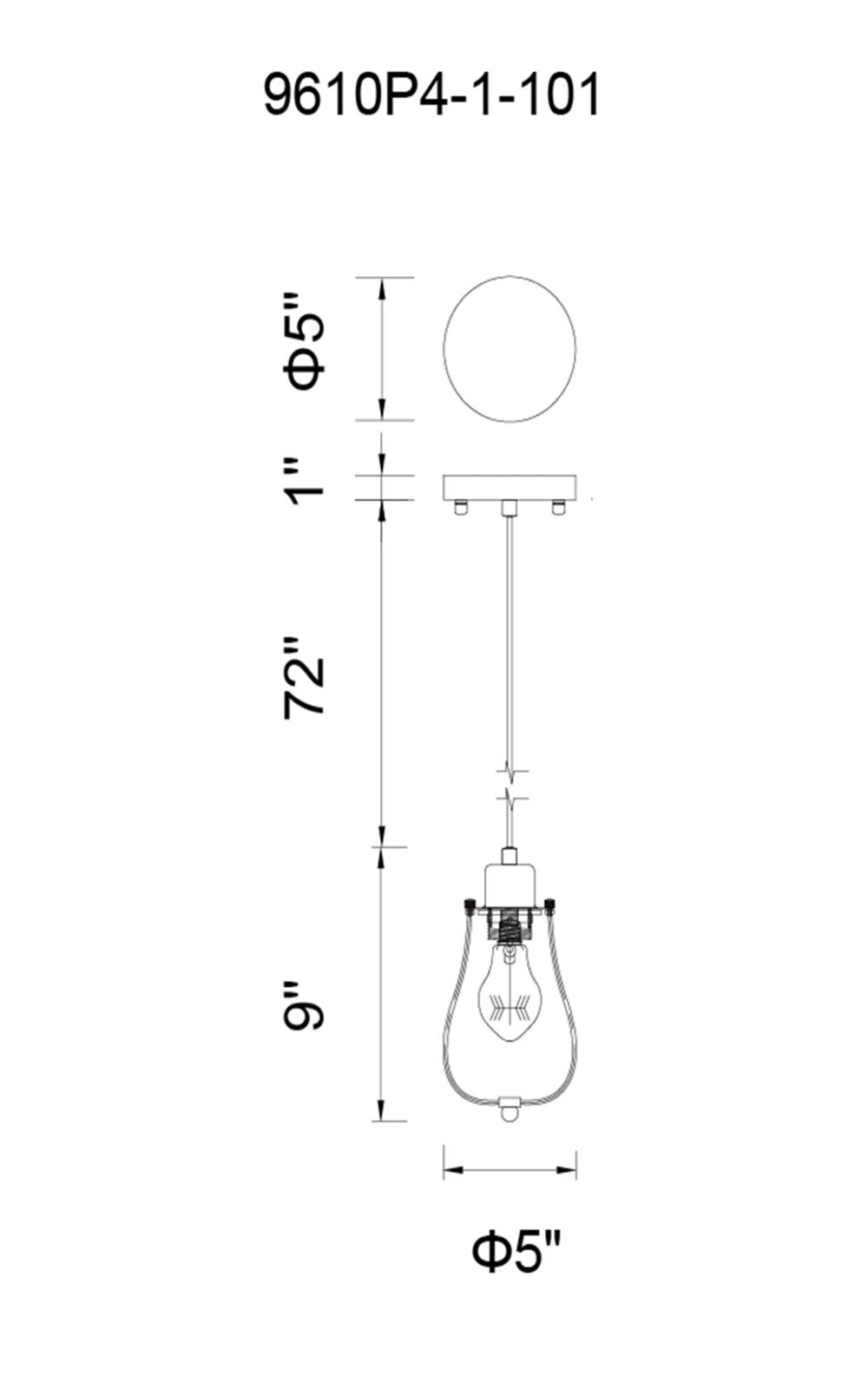 CWI Lighting Tomaso 1 Light Down Mini Pendant With Black Finish Model: 9610P4-1-101 Line Drawing