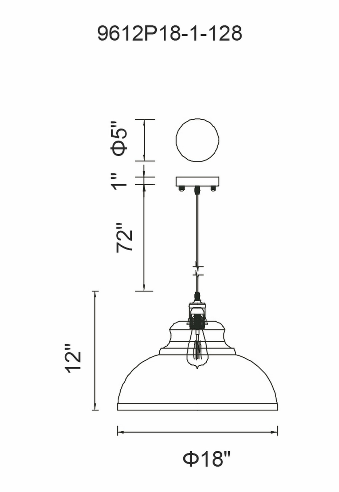 CWI Lighting Vogel 1 Light Down Pendant With Antique Copper Model: 9612P18-1-128 Line Drawing