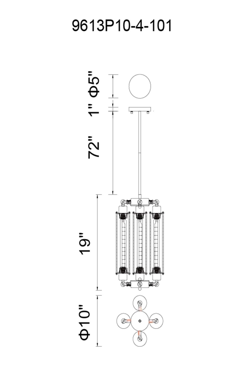 CWI Lighting Kiera 4 Light Down Mini Pendant With Black Finish Model: 9613P10-4-101 Line Drawing