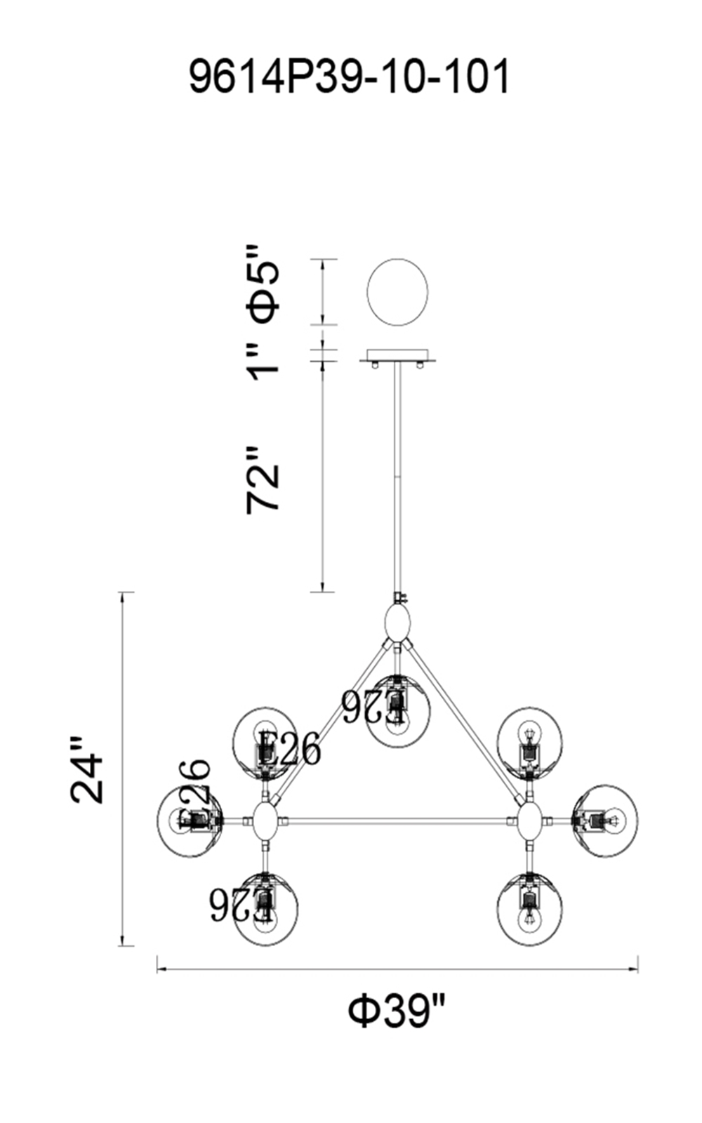 CWI Lighting Glow 10 Light Chandelier With Black Finish Model: 9614P39-10-101 Line Drawing
