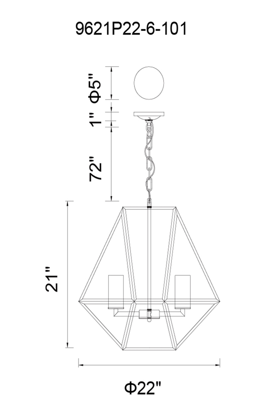 CWI Lighting Trenton 6 Light Candle Chandelier With Black Finish Model: 9621P22-6-101 Line Drawing