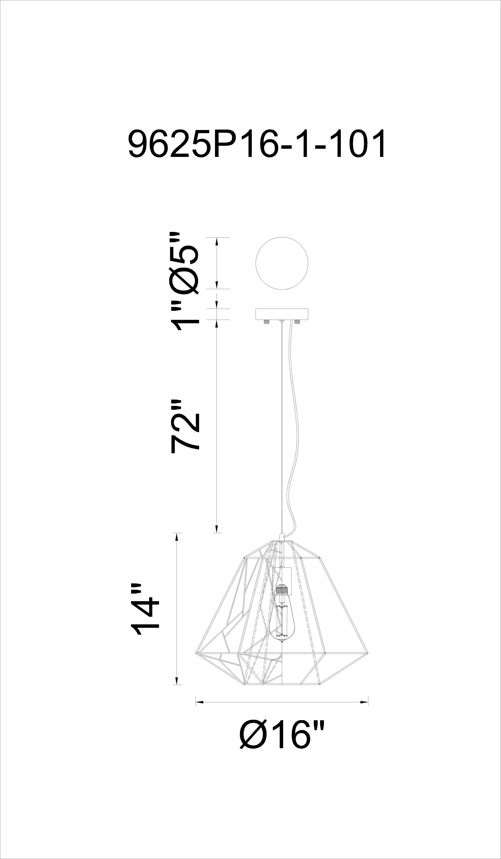 CWI Lighting Bagheera 1 Light Down Pendant With Black Finish Model: 9625P16-1-101 Line Drawing