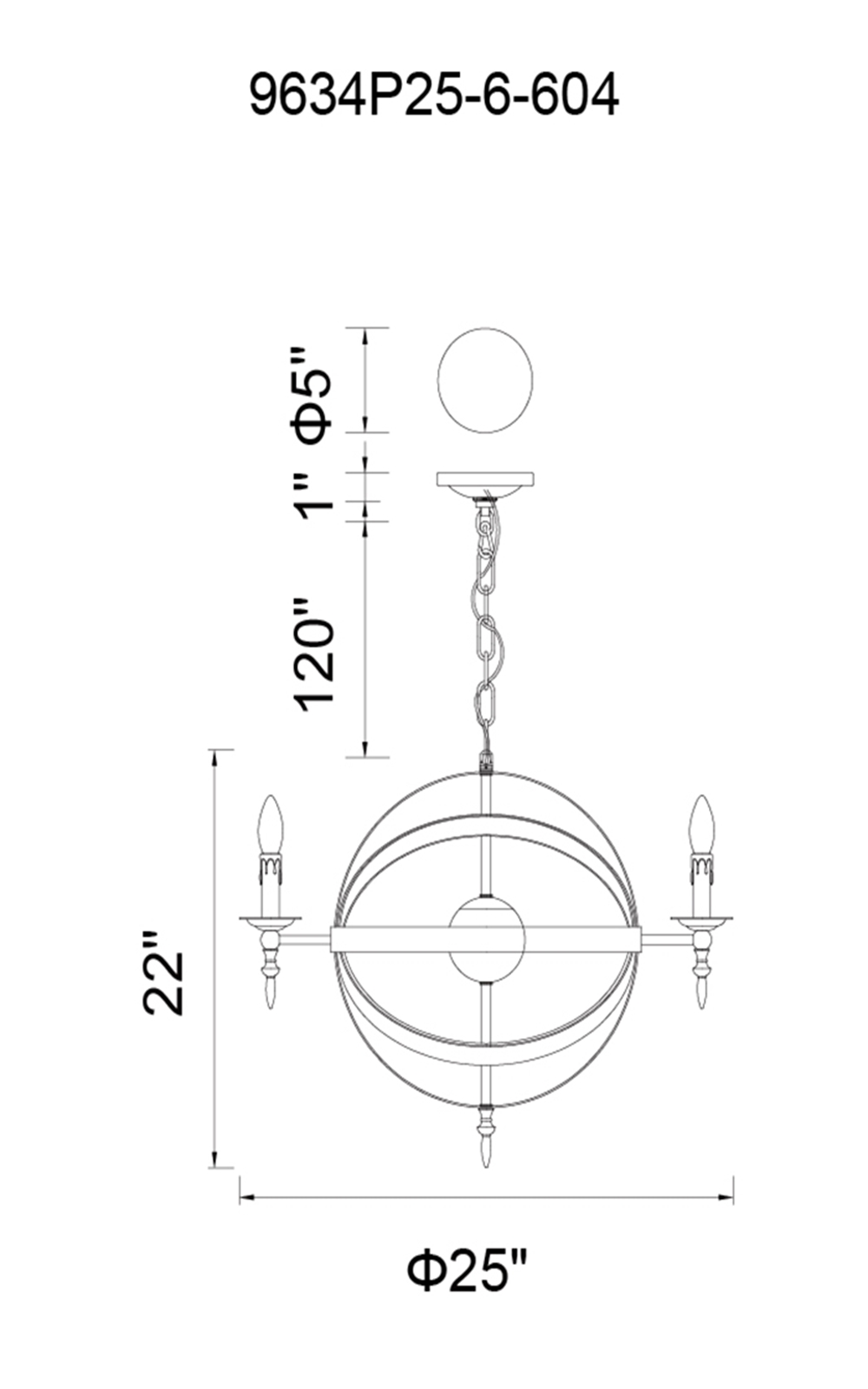 CWI Lighting Troy 6 Light Up Chandelier With Black Finish Model: 9634P25-6-101 Line Drawing