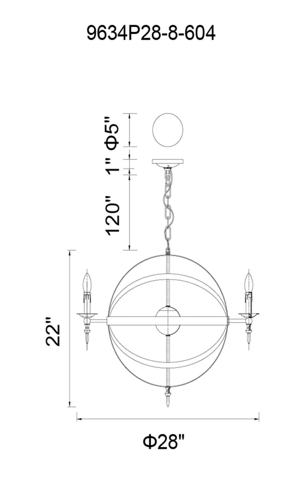 CWI Lighting Troy 8 Light Up Chandelier With Black Finish Model: 9634P28-8-101 Line Drawing