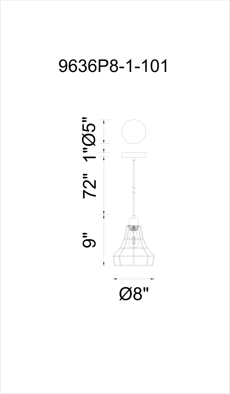 CWI Lighting Bora 1 Light Down Mini Pendant With Black Finish Model: 9636P8-1-101 Line Drawing