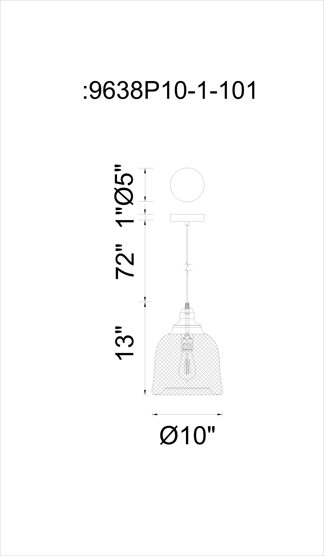 CWI Lighting Drea 1 Light Down Pendant With Black Finish Model: 9638P10-1-101 Line Drawing