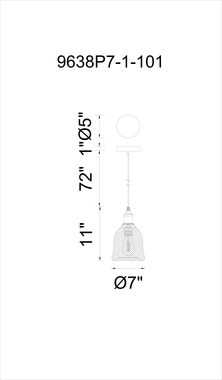 CWI Lighting Drea 1 Light Down Mini Pendant With Black Finish Model: 9638P7-1-101 Line Drawing
