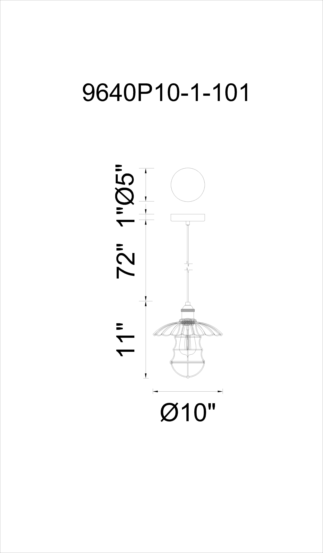 CWI Lighting Amur 1 Light Down Mini Pendant With Black Finish Model: 9640P10-1-101 Line Drawing