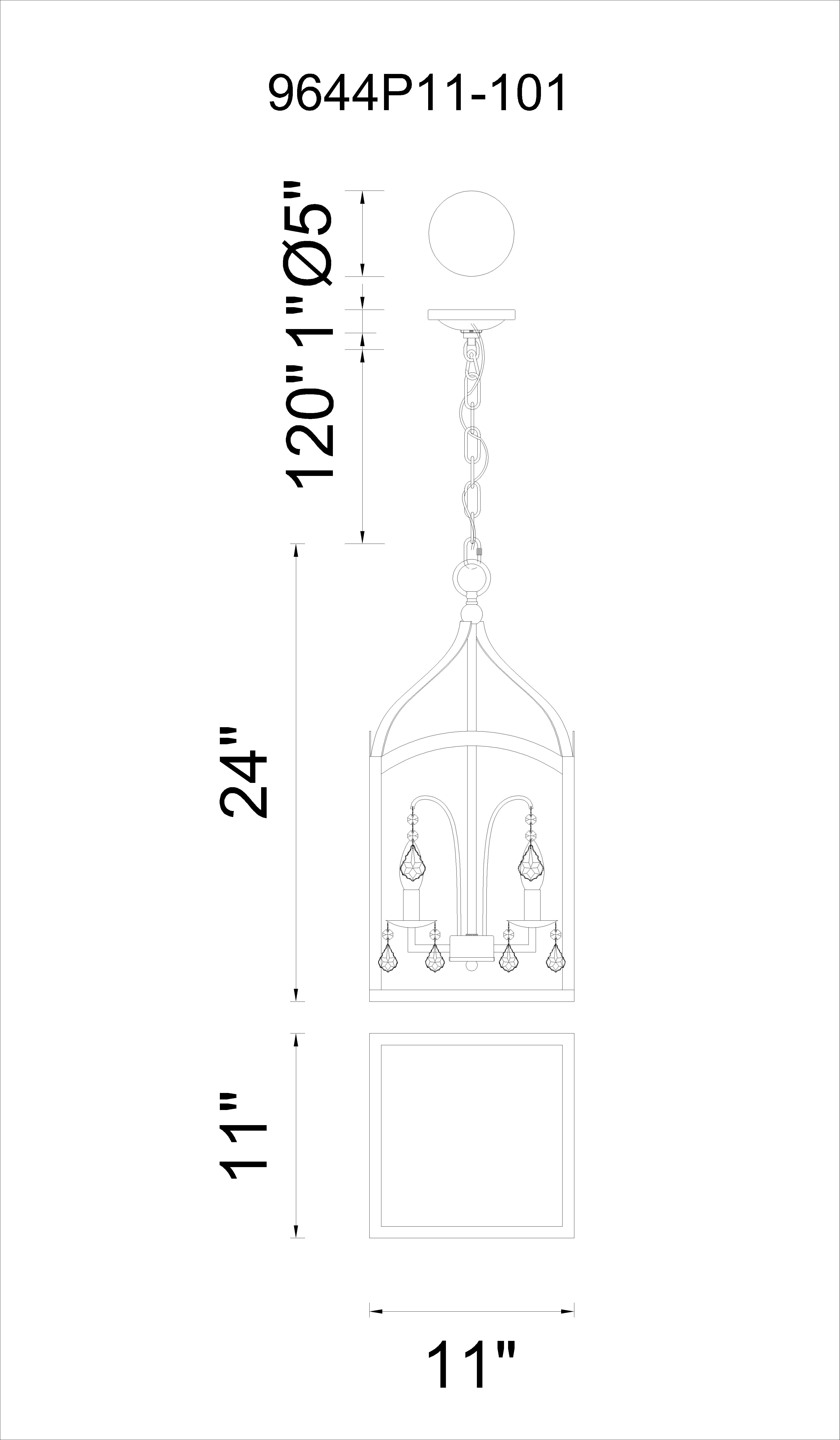 CWI Lighting Save 3 Light Up Chandelier With Black Finish Model: 9644P11-3-101 Line Drawing