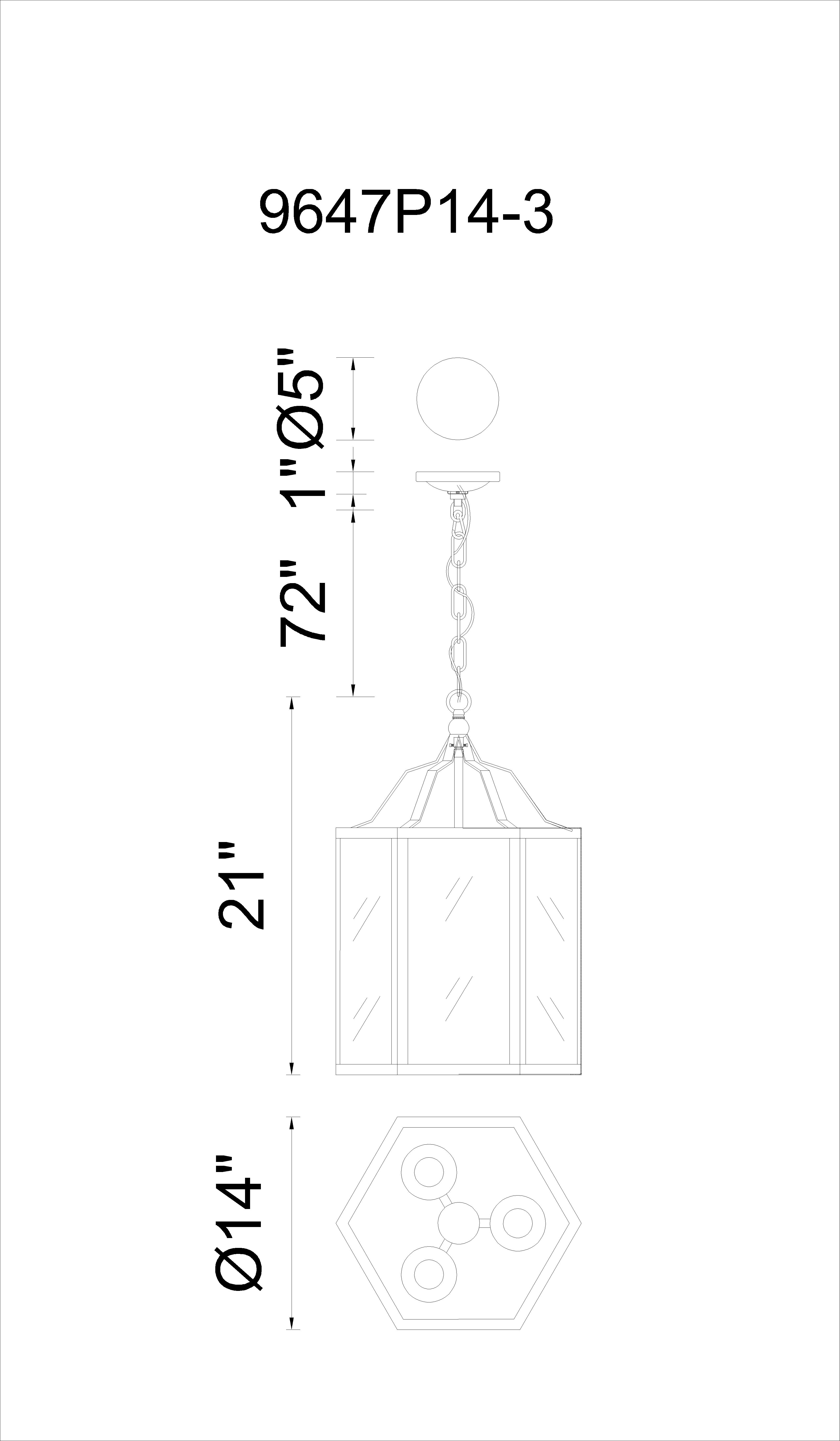 CWI Lighting Desire 3 Light Up Chandelier With Black Finish Model: 9647P14-3-101 Line Drawing