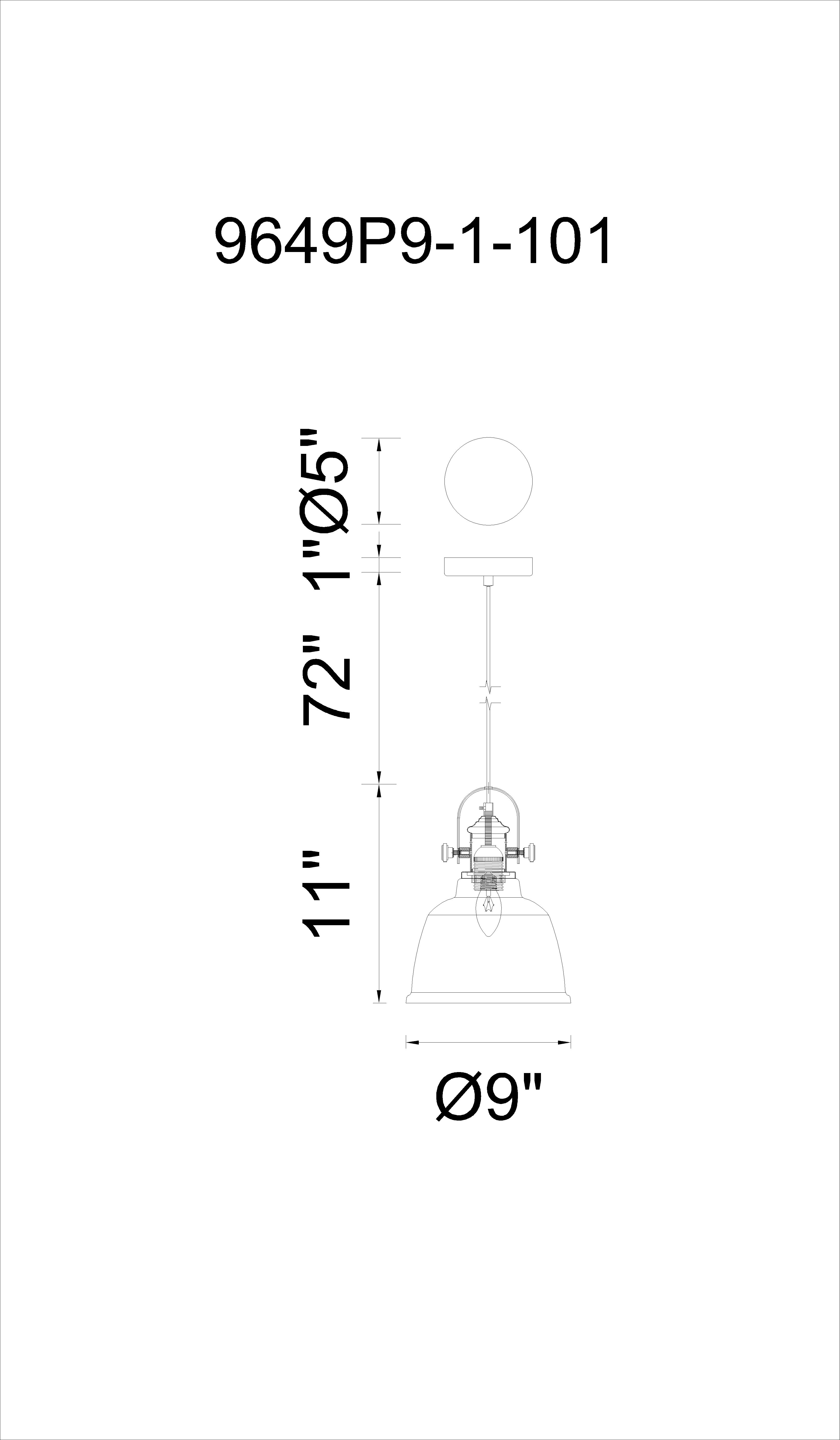 CWI Lighting Tower Bell 1 Light Down Pendant With Clear Finish Model: 9649P9-1-CLEAR Line Drawing