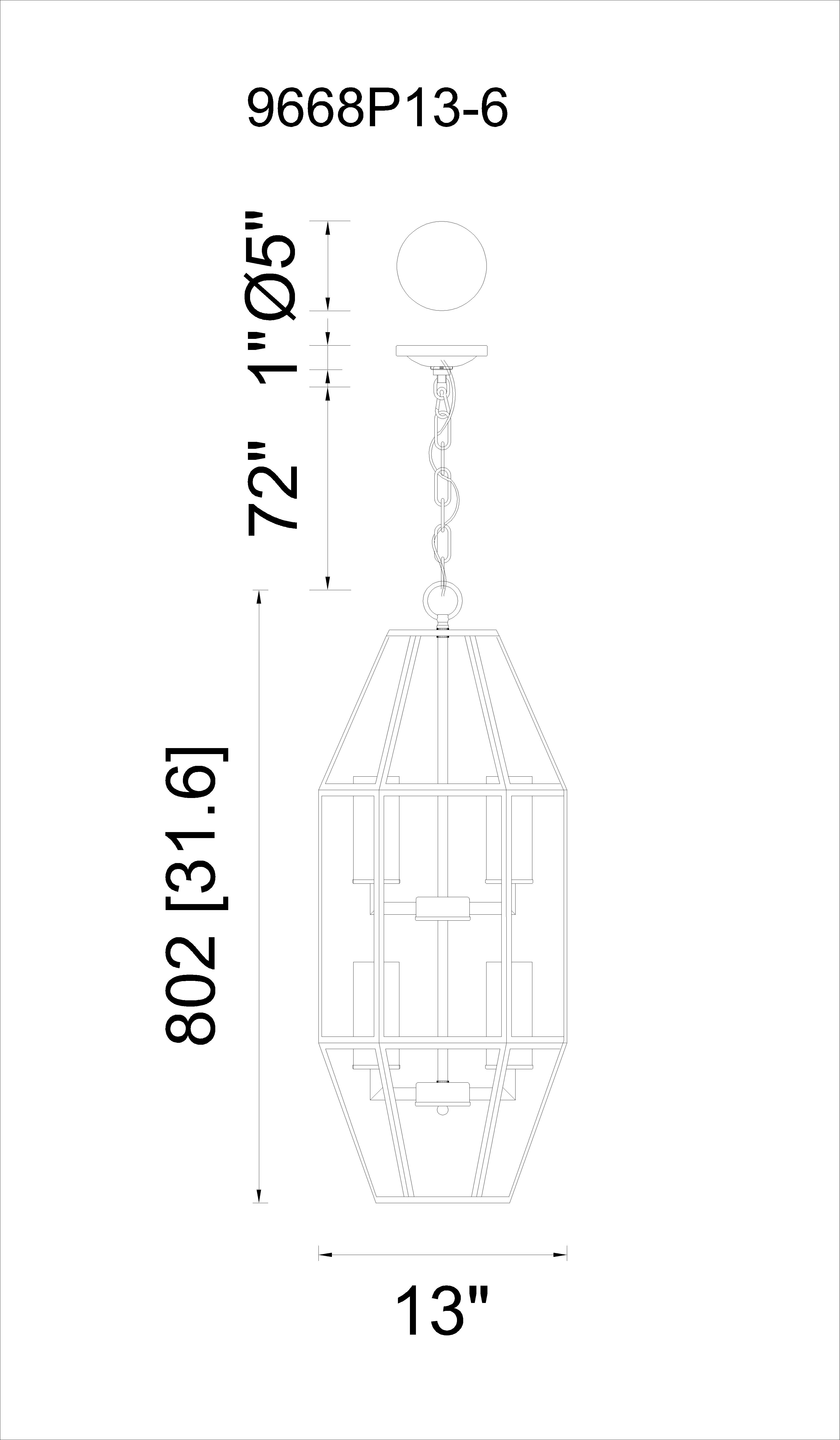 CWI Lighting Cell 6 Light Candle Pendant With Black Finish Model: 9668P13-6-S-101 Line Drawing