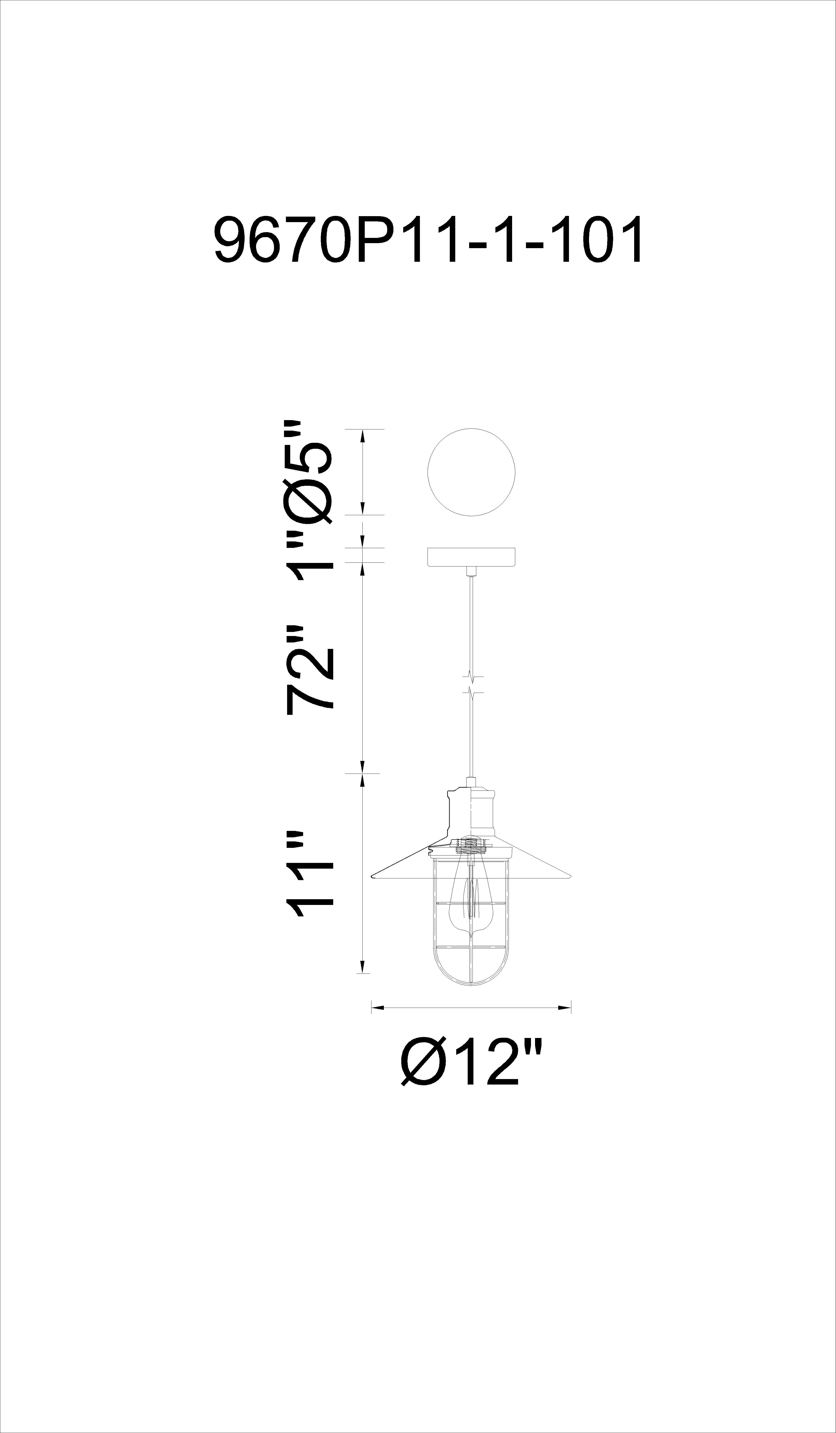 CWI Lighting Brave 1 Light Down Pendant With Black Finish Model: 9670P11-1-101 Line Drawing