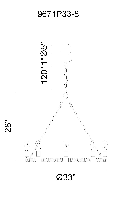 CWI Lighting Ganges 8 Light Up Chandelier With Black Finish Model: 9671P33-8-101 Line Drawing