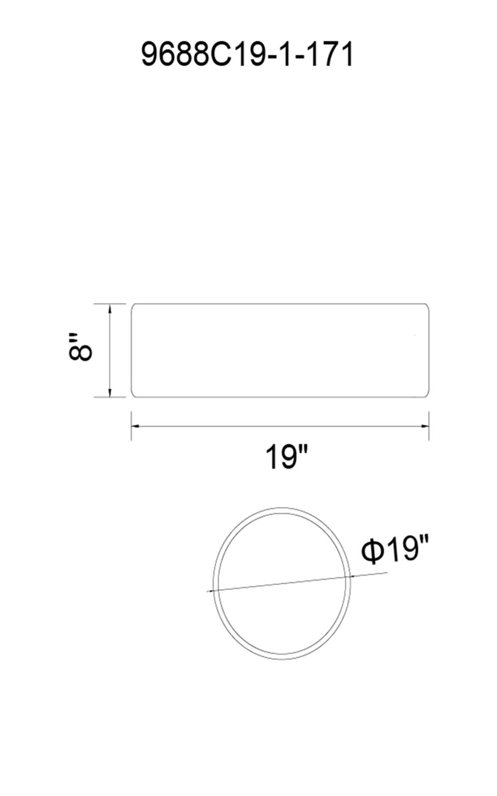 CWI Lighting Campton 3 Light Drum Shade Flush Mount With Black Model: 9688C19-3-171 Line Drawing