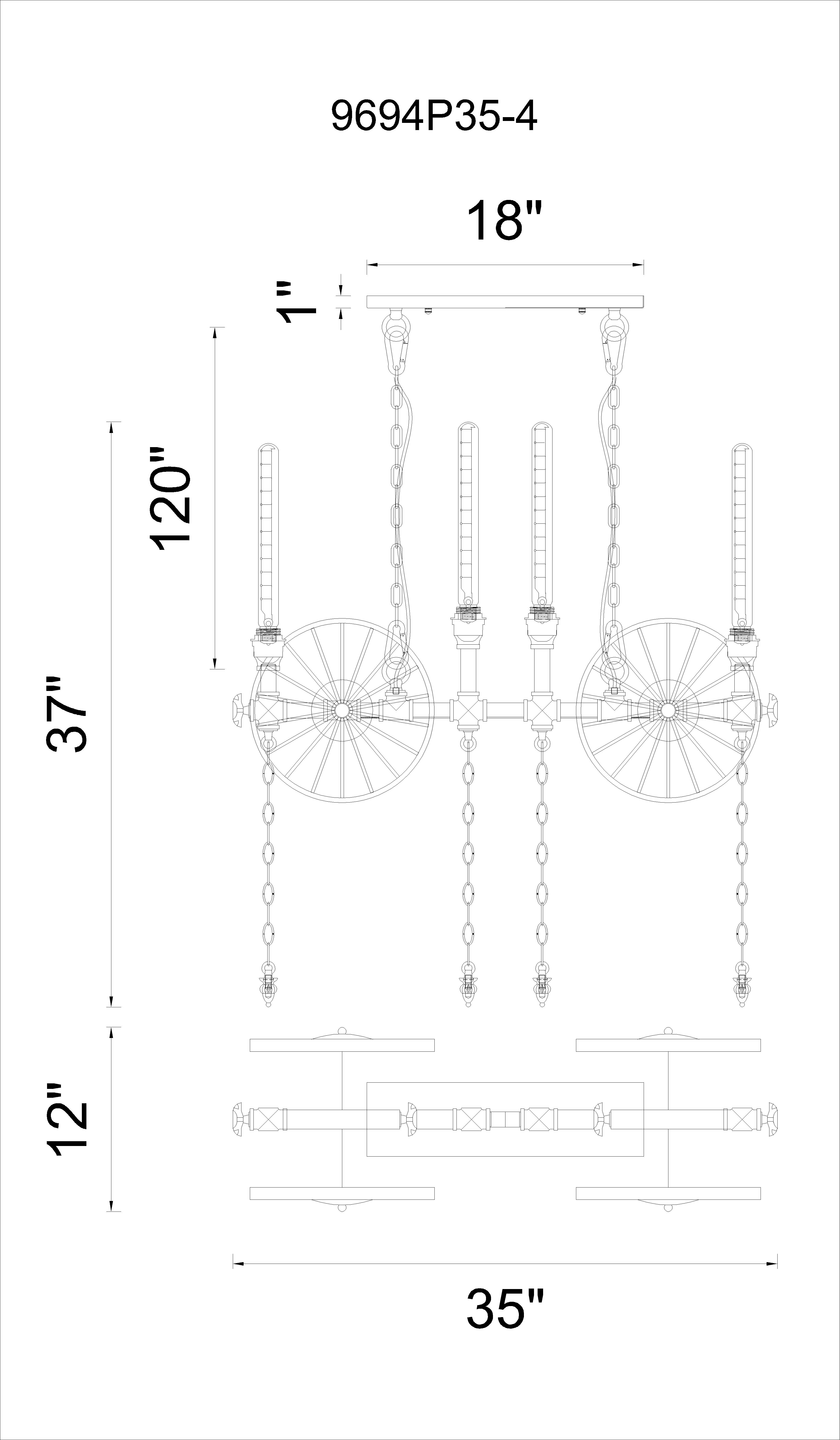 CWI Lighting Rio 4 Light Up Chandelier With Gray Finish Model: 9694P35-4-187 Line Drawing
