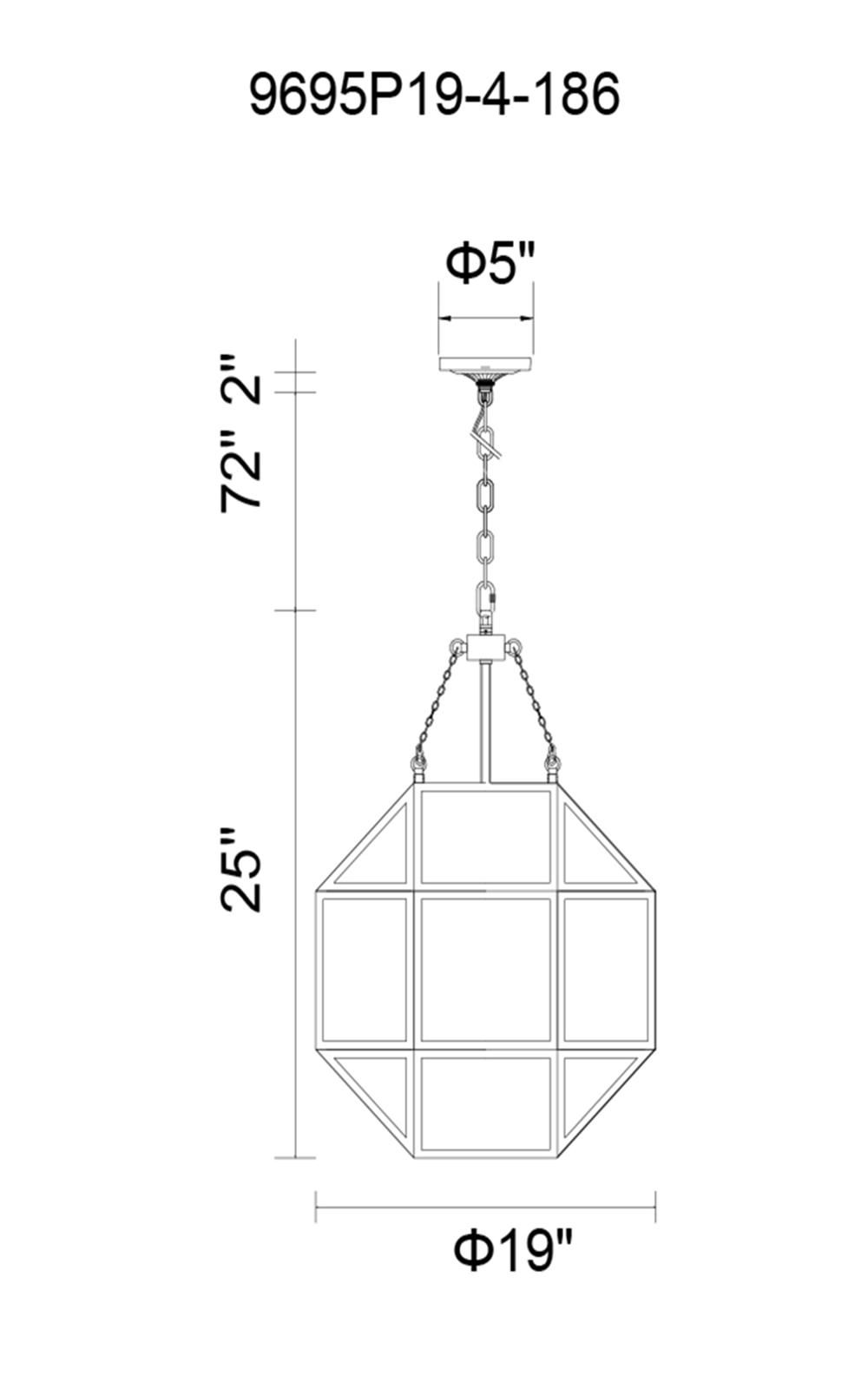 CWI Lighting Dvina 4 Light Pendant With Rust Finish Model: 9695P19-4-186 Line Drawing