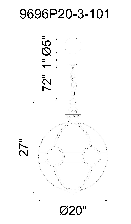 CWI Lighting Beas 3 Light Pendant With Black Finish Model: 9696P20-3-101 Line Drawing