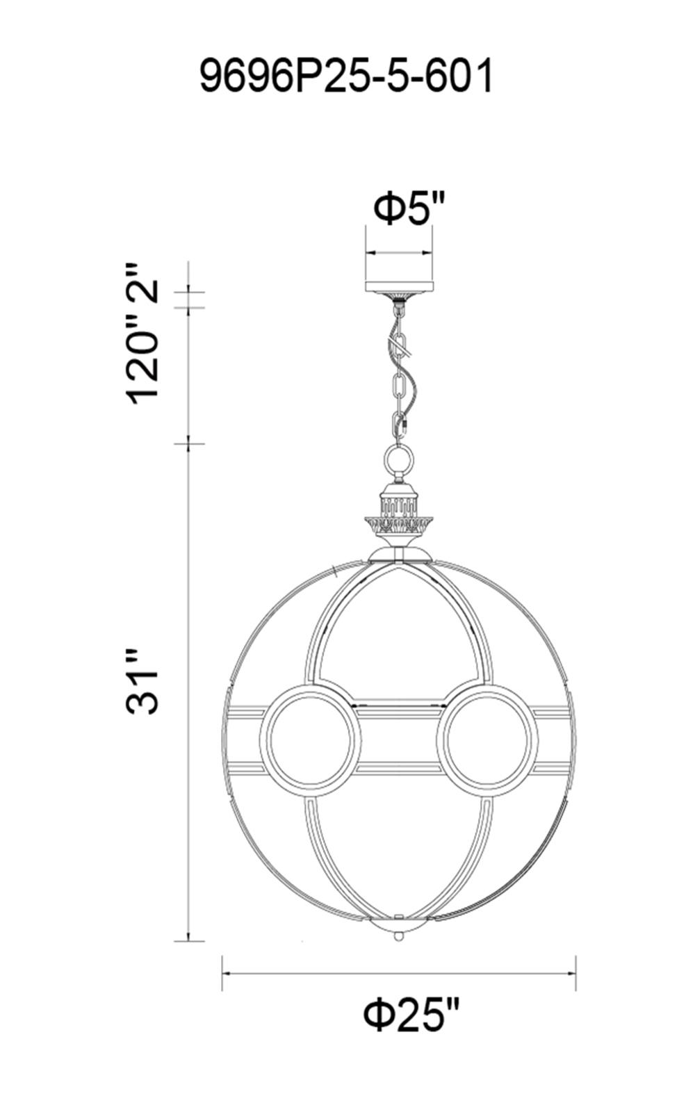 CWI Lighting Beas 5 Light Pendant With Chrome Finish Model: 9696P25-5-601 Line Drawing