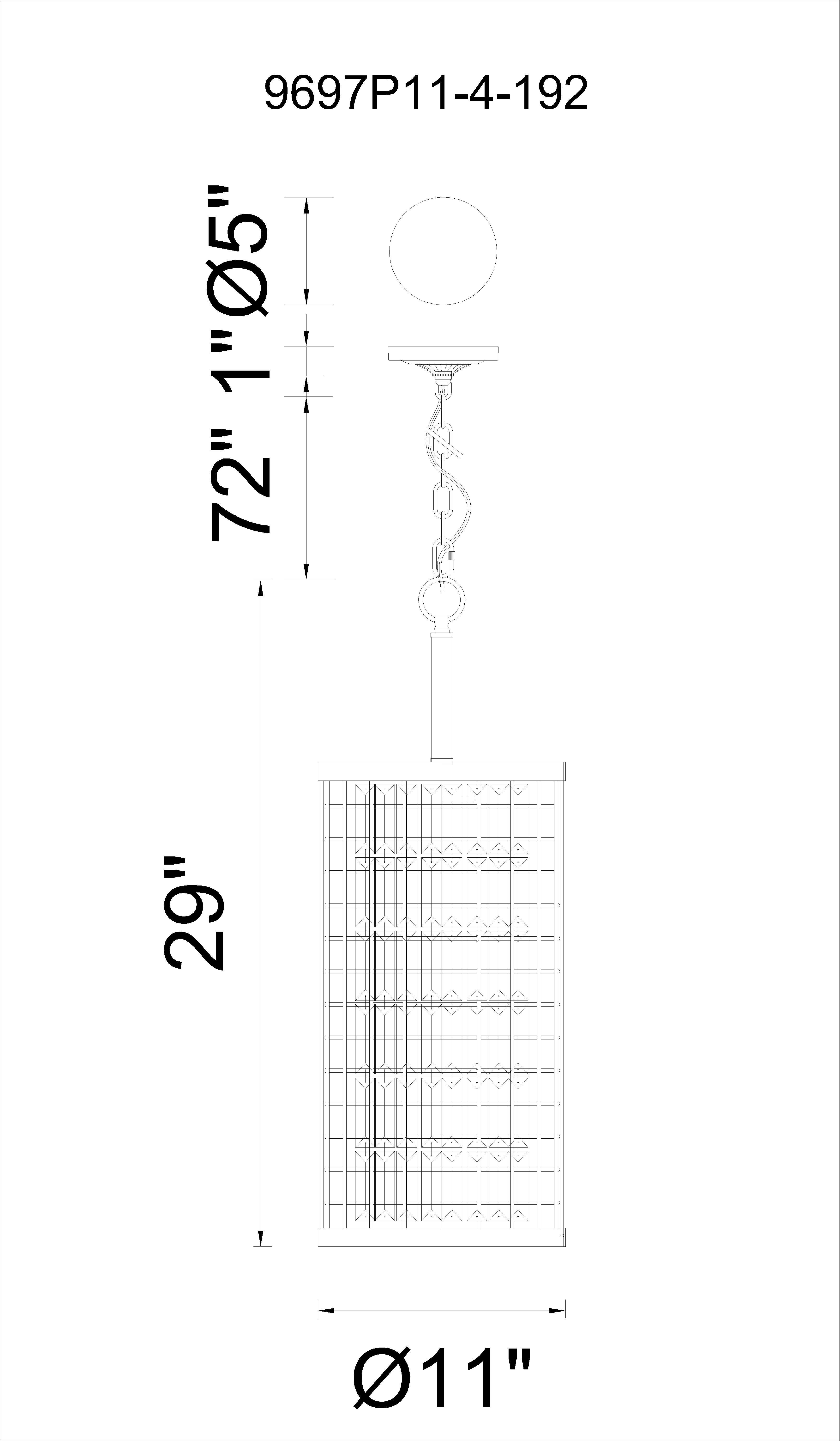 CWI Lighting Meghna 4 Light Up Chandelier With Brown Finish Model: 9697P11-4-192 Line Drawing