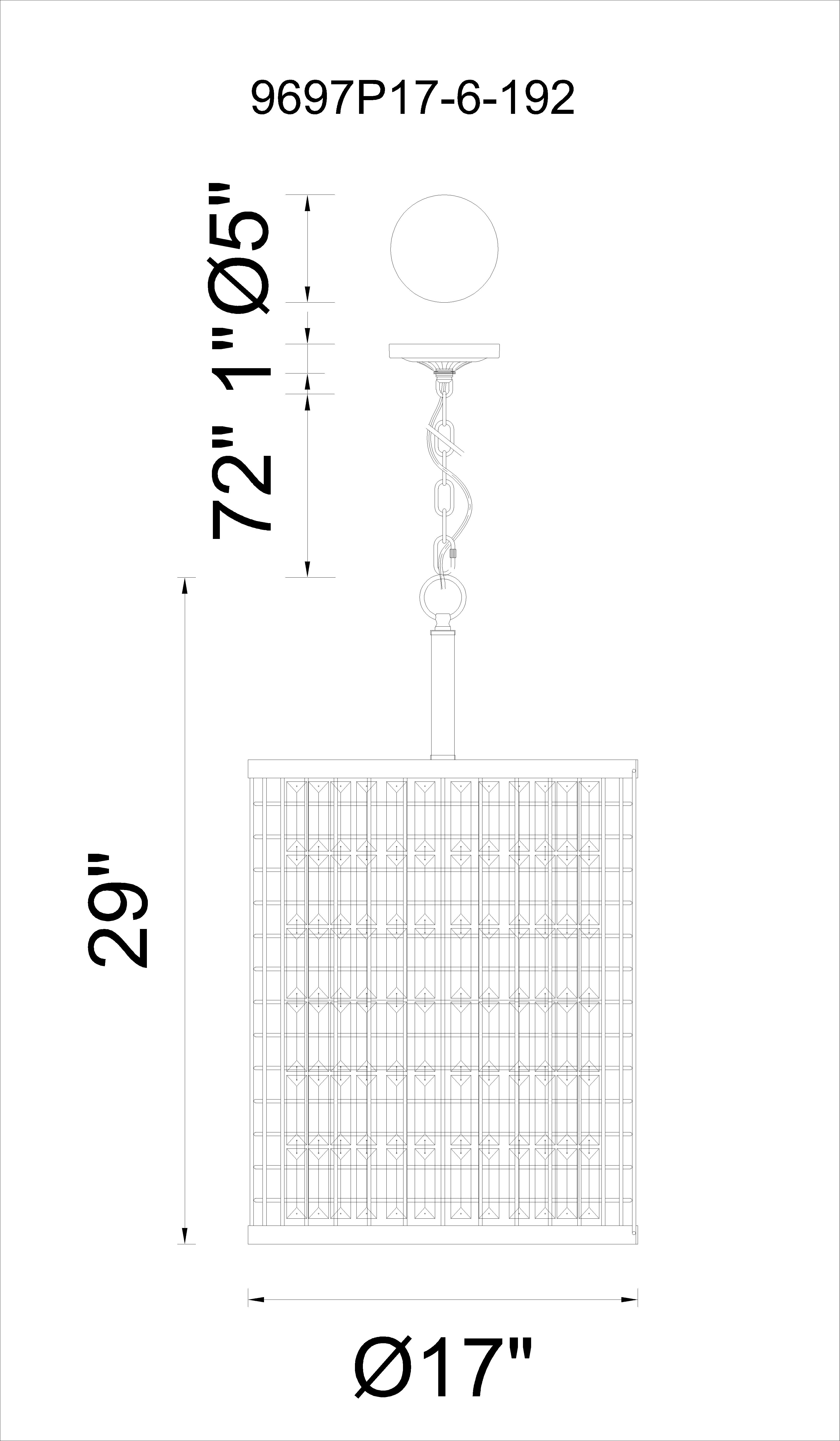 CWI Lighting Meghna 6 Light Up Chandelier With Brown Finish Model: 9697P17-6-192 Line Drawing