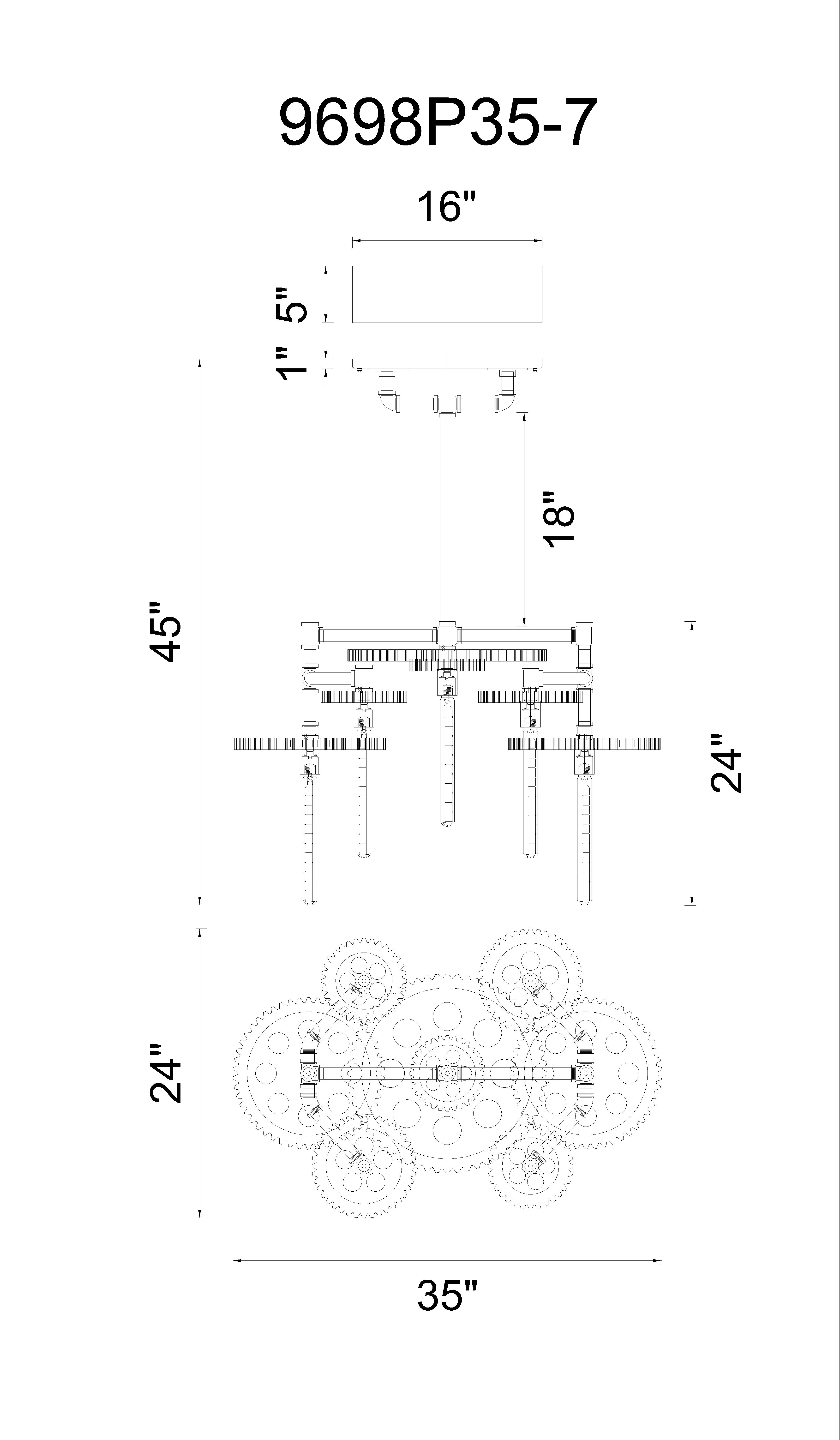 CWI Lighting Oder 7 Light Down Chandelier With Silver Gray Model: 9698P35-7-187 Line Drawing