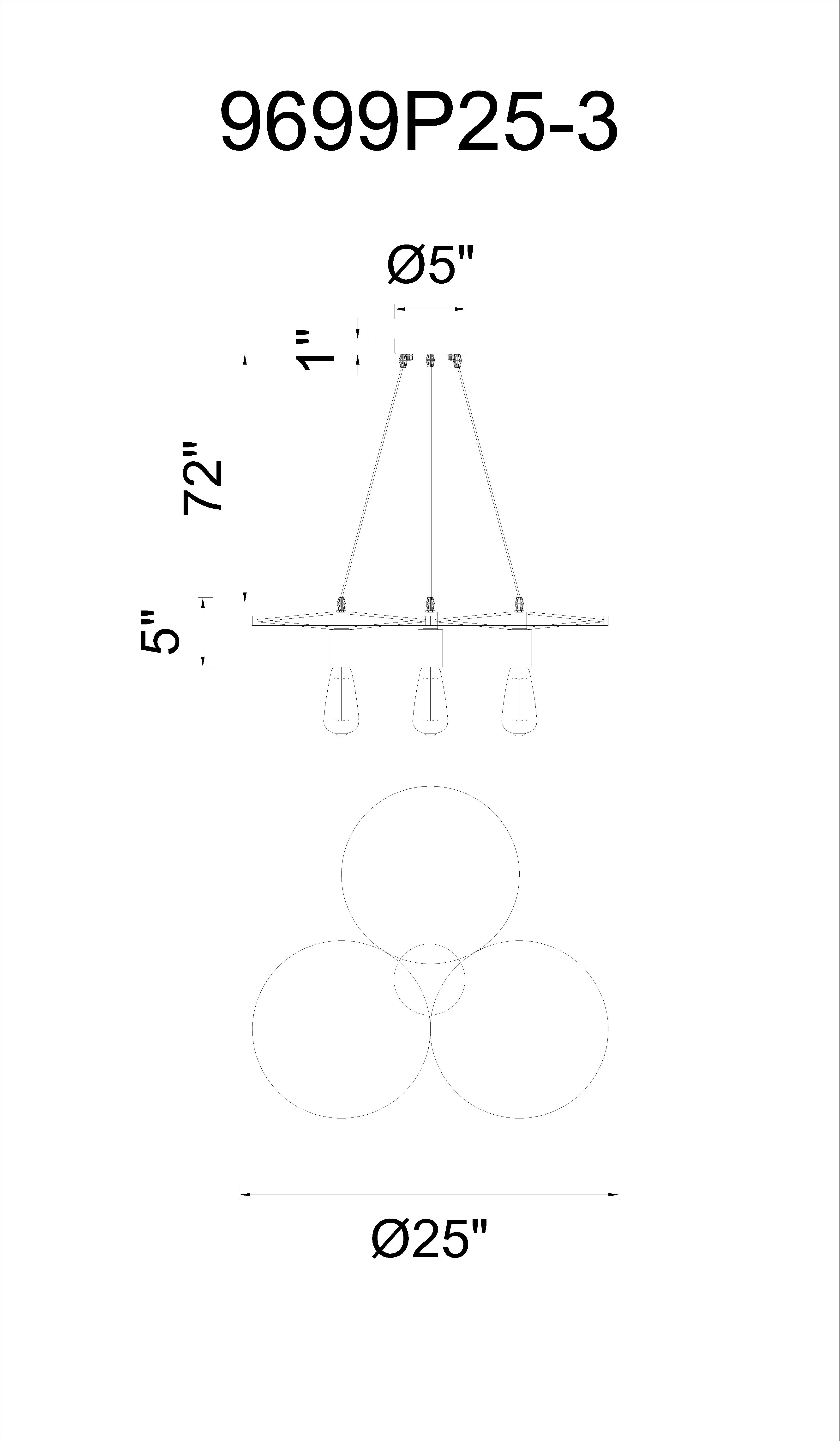 CWI Lighting Ravi 3 Light Down Chandelier With Black Finish Model: 9699P25-3-101 Line Drawing