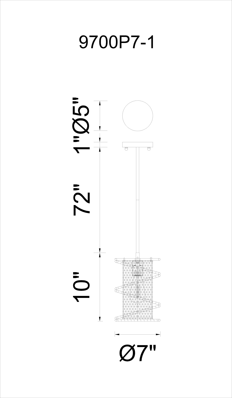 CWI Lighting Darya 1 Light Down Mini Pendant With Brown Finish Model: 9700P7-1-197 Line Drawing