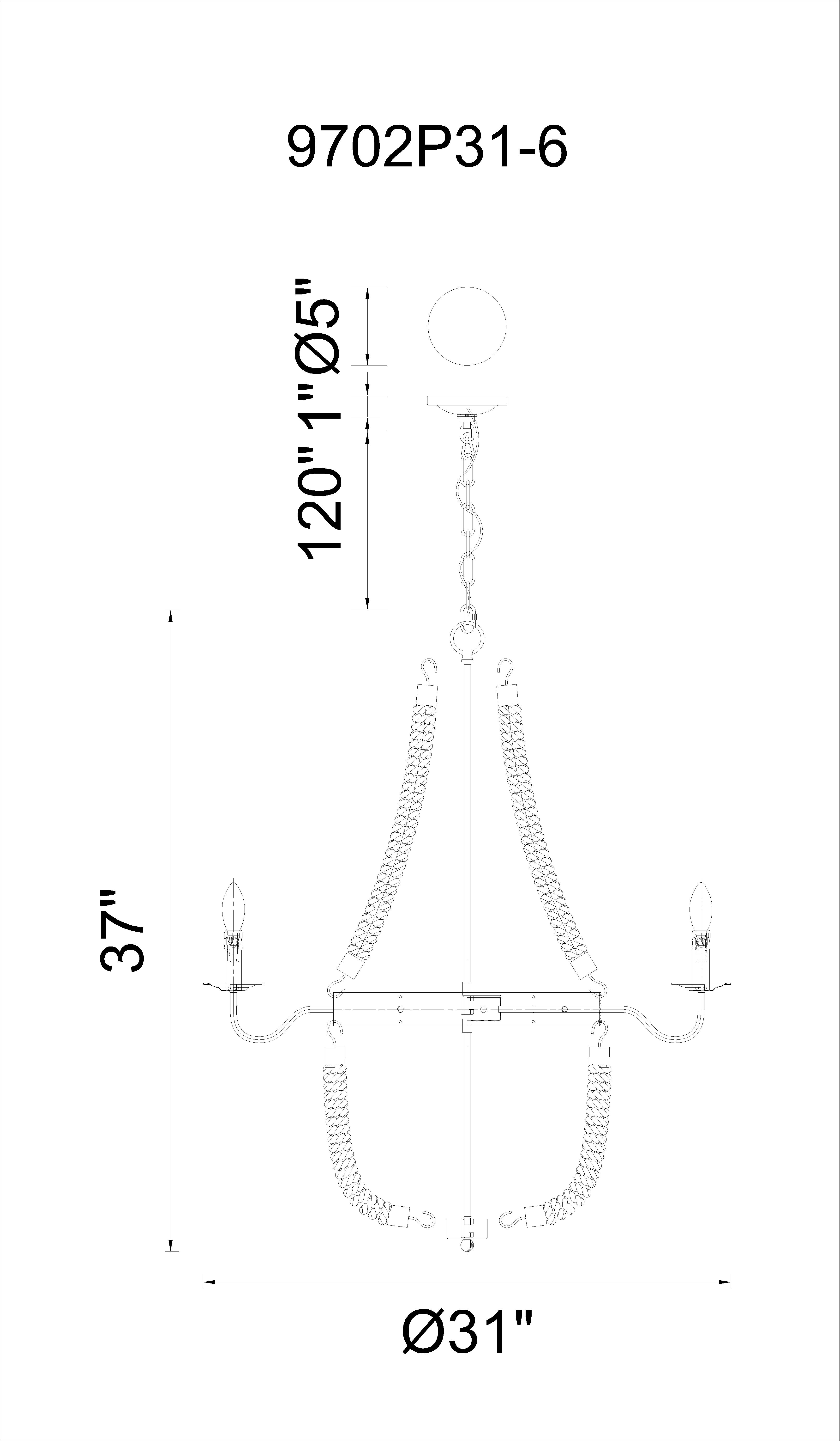 CWI Lighting Dharla 6 Light Up Chandelier With Rust Finish Model: 9702P31-6-130 Line Drawing