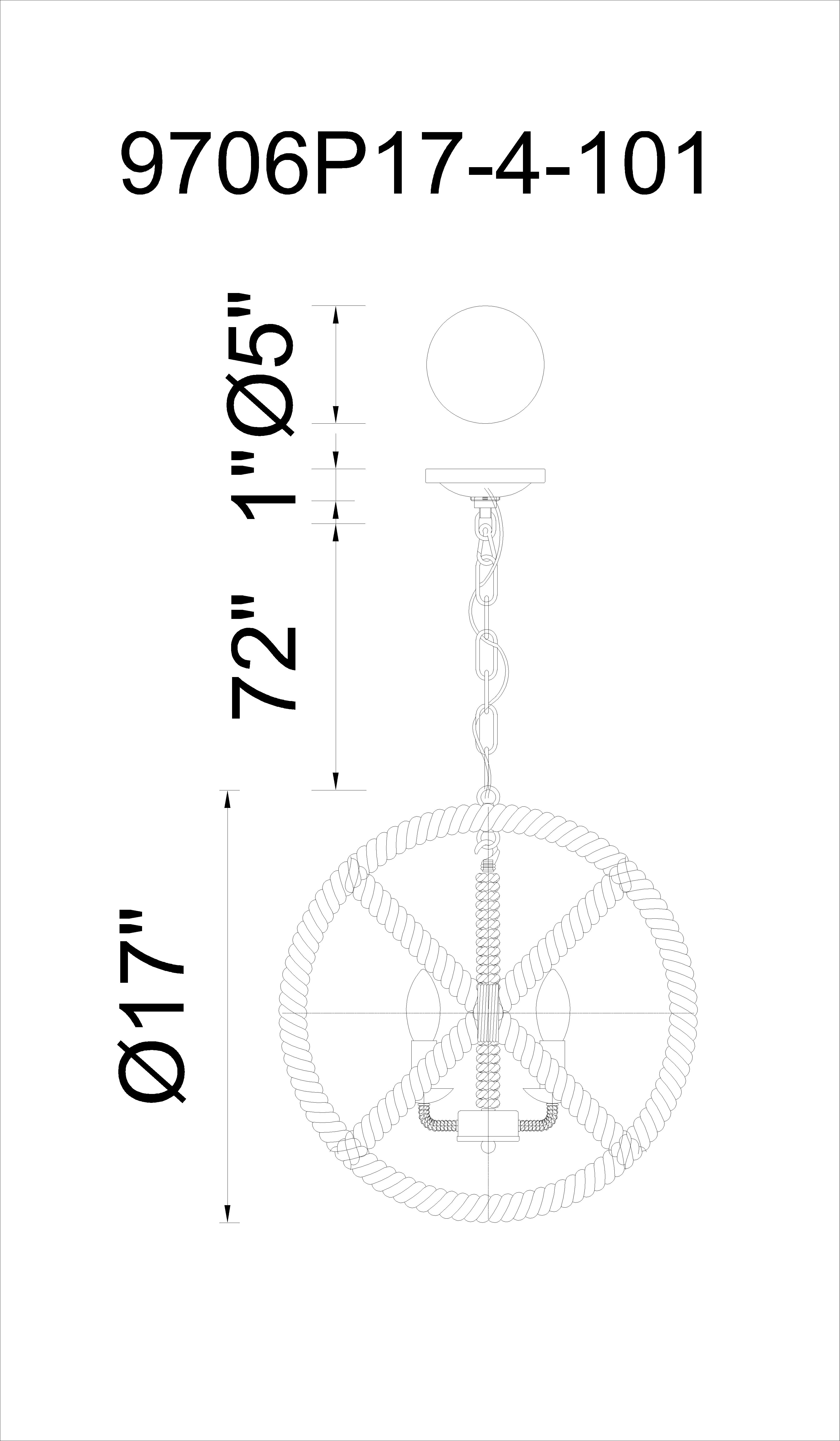 CWI Lighting Padma 4 Light Up Chandelier With Black Finish Model: 9706P17-4-101 Line Drawing