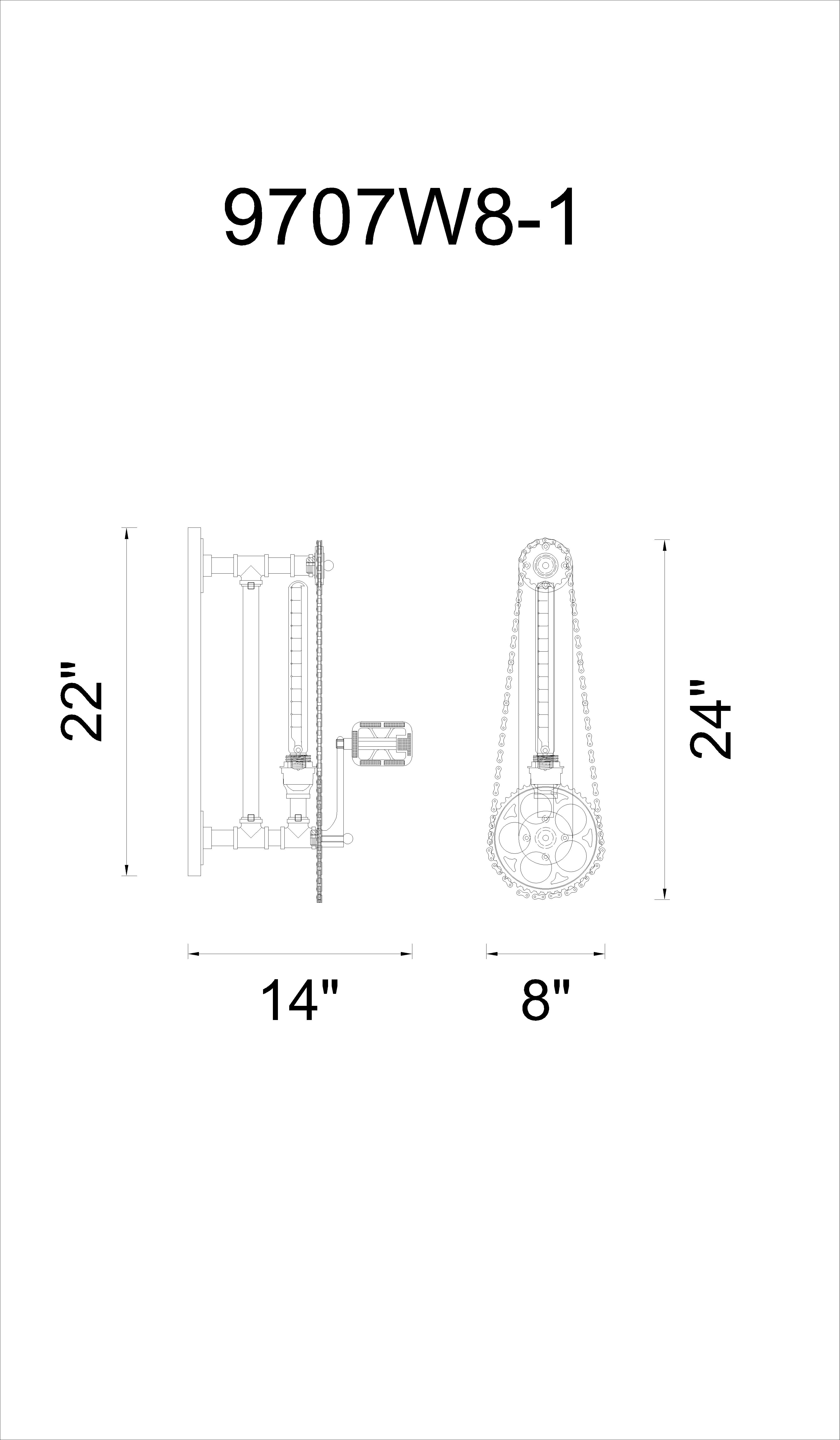 CWI Lighting Bici 1 Light Wall Sconce With Silver Gray Finish Model: 9707W8-187 Line Drawing