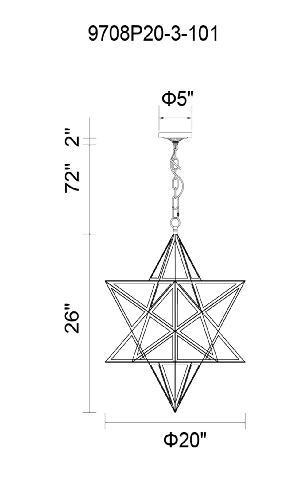 CWI Lighting Astoria 3 Light Pendant With Black Finish Model: 9708P20-3-101 Line Drawing