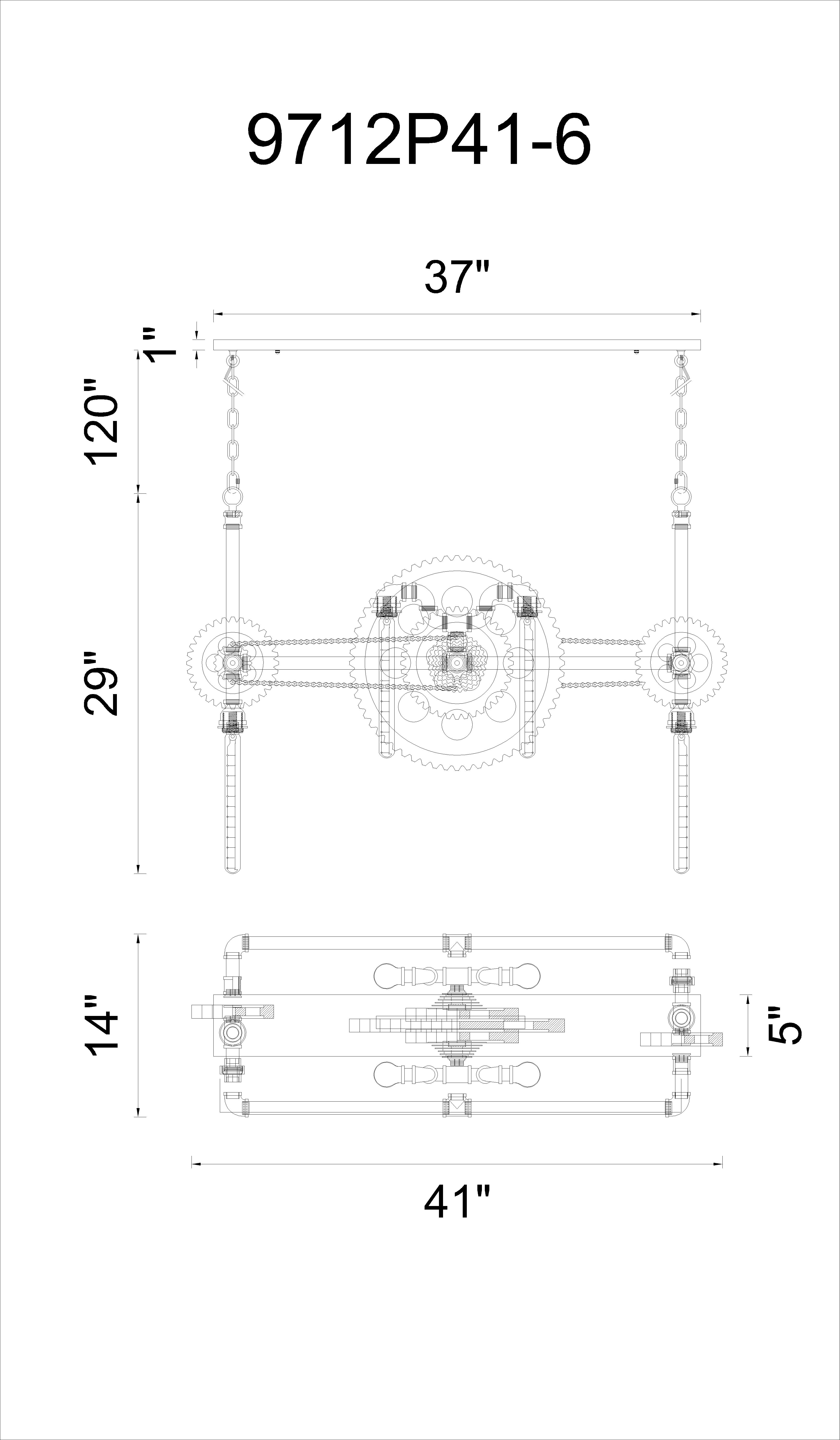 CWI Lighting Oder 6 Light Down Chandelier With Silver Gray Model: 9712P41-6-187 Line Drawing